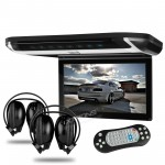 "10"" HD Digital TFT Monitor Touch Button Car Roof DVD Player with HDMI Port and 2 headphones"