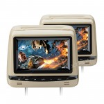 "2x7"" Touch Panel Leather Cover HD Digital Screen Car Headrest DVD Players with Adjustable Viewing Angles"