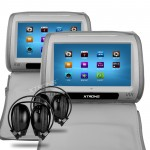 Car Touch Screen Headrest DVD Players  with 2 headphones