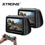 """2x10.1"""" HD Digital Screen Touch Screen Leather Cover Car Headrest DVD Player with HDMI Port"""