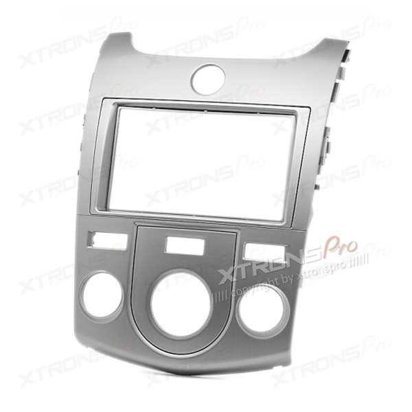 Double Din In-dash Car Audio Silver Installation Kit Fascia Plate for KIA with Manual Air-Conditioning