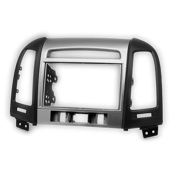 Silver & Black Double Din CD Radio Facia Fascia Panel Surround for HYUNDAI Santa Fe