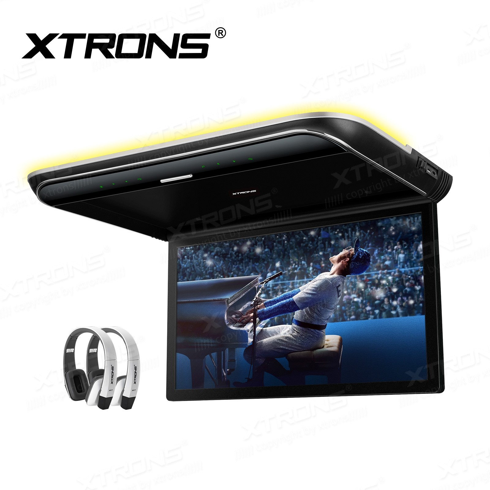 19.5 inch HD Digital TFT 16:9 Screen Ultra-thin Roof Mounted Player with Built-in Speakers and Colourful Aura Light & 2pcs headphones