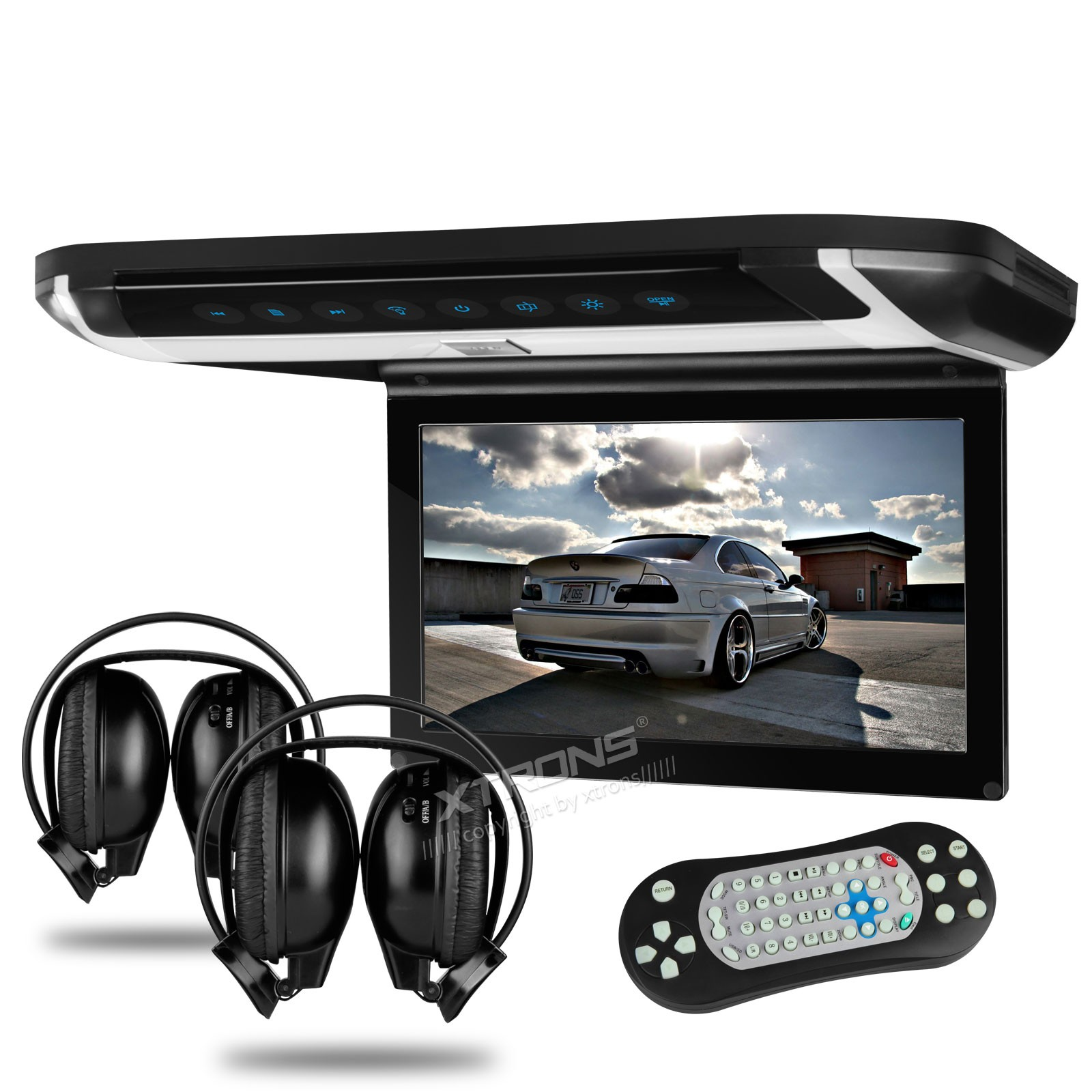 """10"""" HD Digital TFT Monitor Touch Button Car Roof DVD Player with HDMI Port and 2 headphones"""