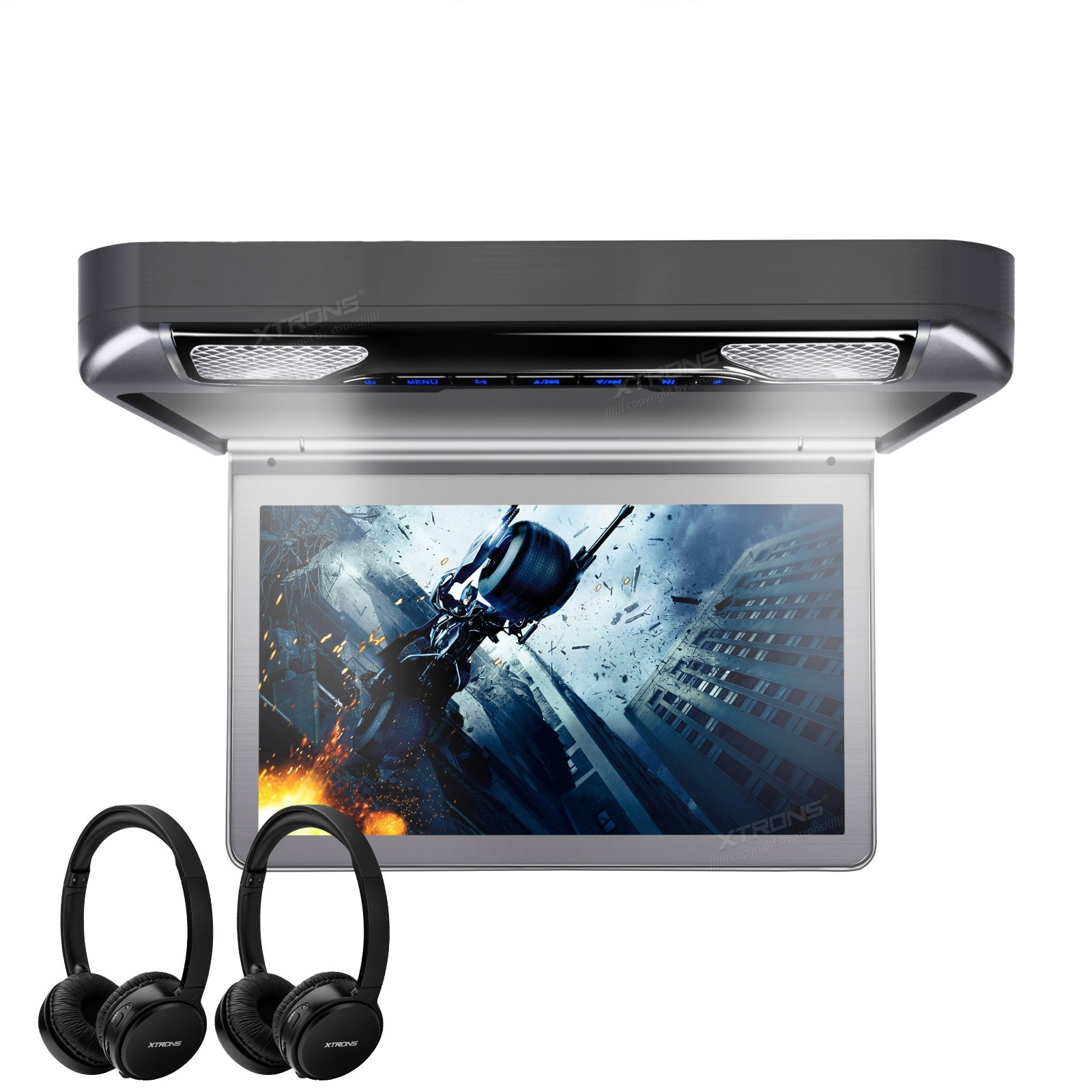 "13.3"" 1080P Video HD Digital TFT Monitor Wide Screen Car Roof Player with 2 Headphones"