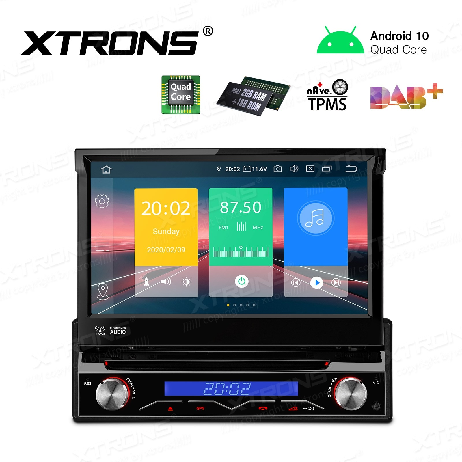 "7"" Android 10.0 Single Din Car Stereo Multimedia System"