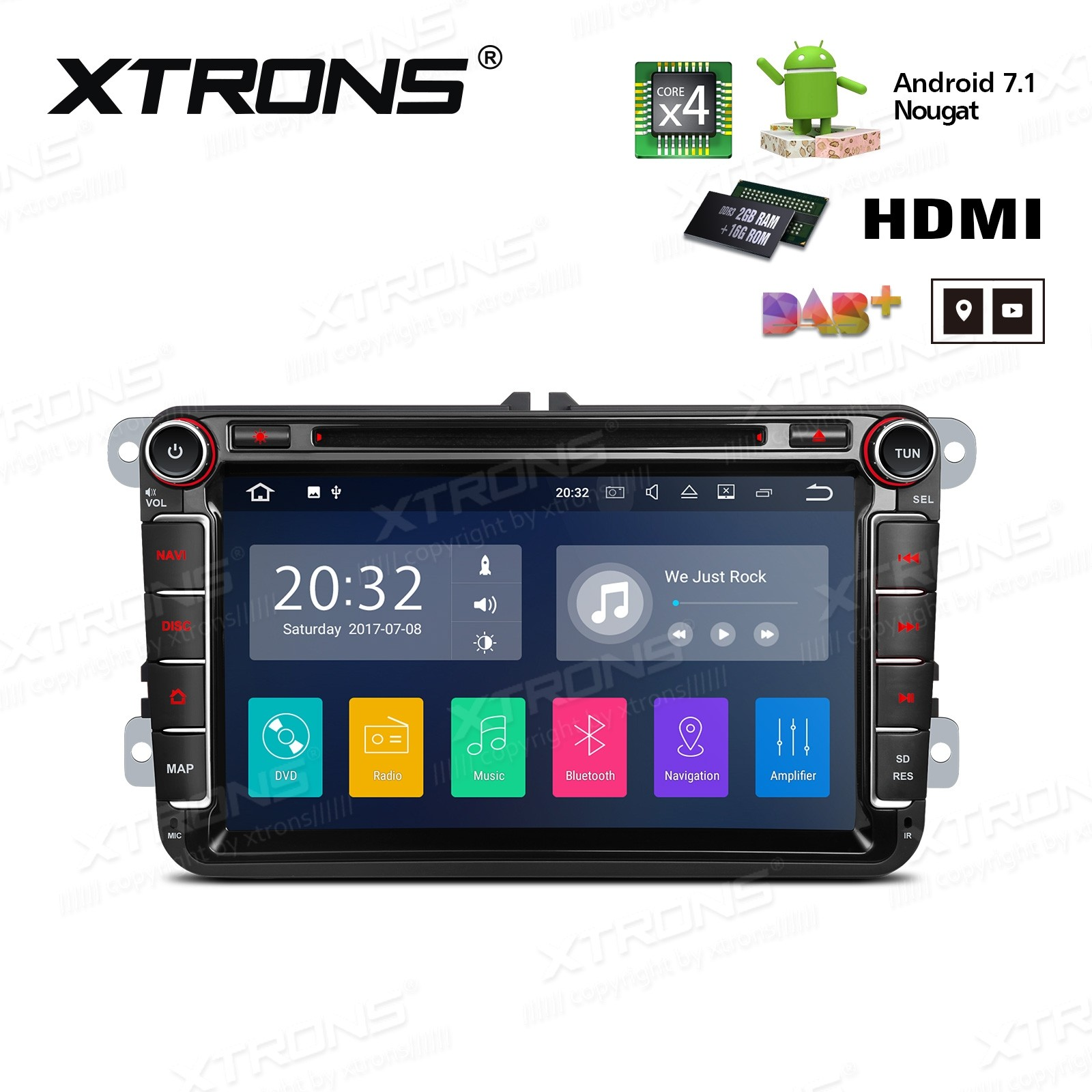 "8"" HD Digital Screen Built in DSP Android 7.1 Quad Core 16GB ROM + 2G DDR3 RAM HDMI Car DVD Player Custom Fit for VW/SEAT/SKODA"