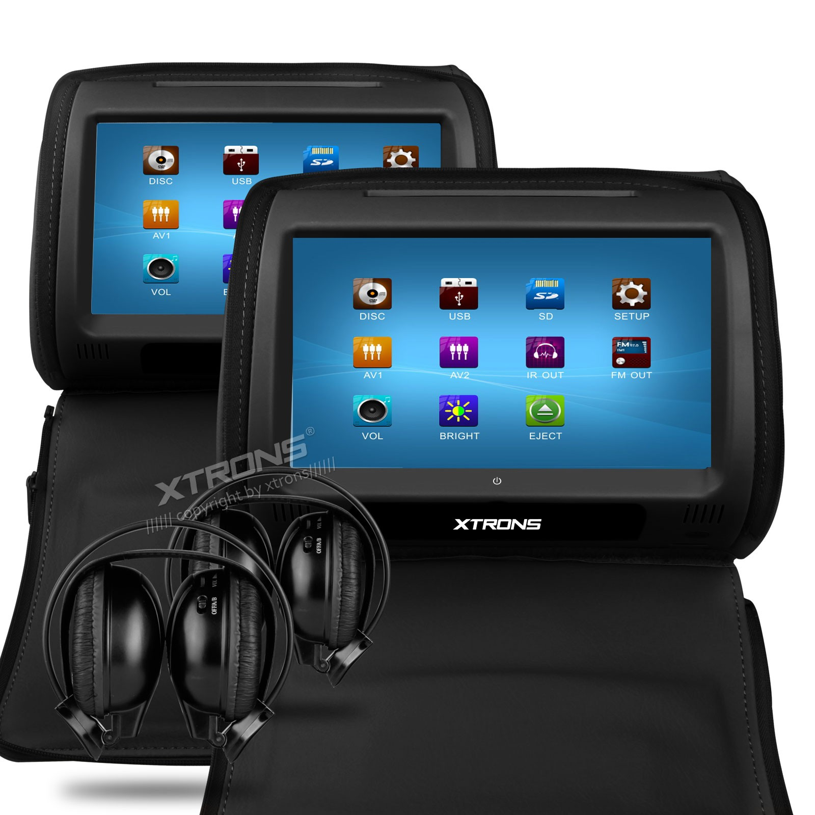 Hd908t 2 X 9 Quot In Car Touch Screen Headrest Dvd Players