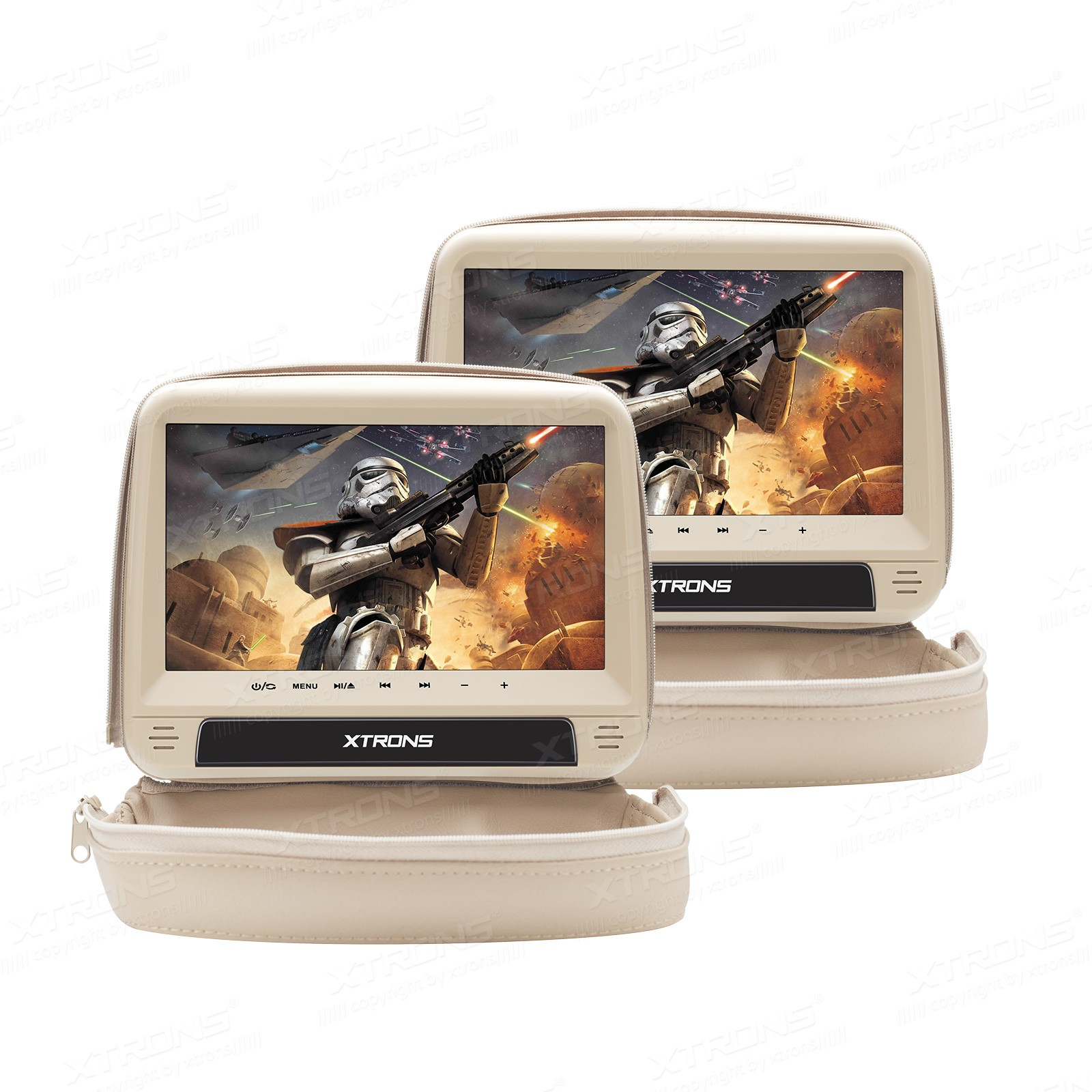 "2x9""  HD Digital Touch Panel Leather Cover Car Headrest DVD Players with  Zipper Design"