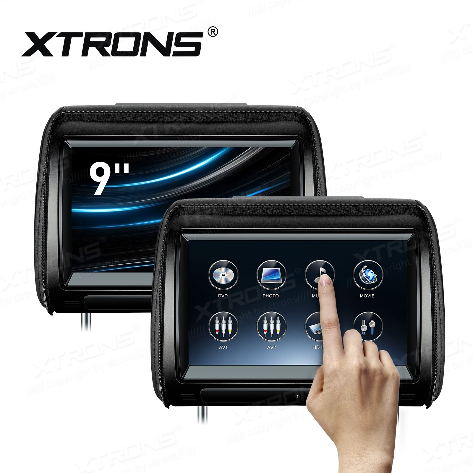 "2 x 9"" HD Digital Adjustable touch screen HDMI Port 1080P video car headrest DVD Players"