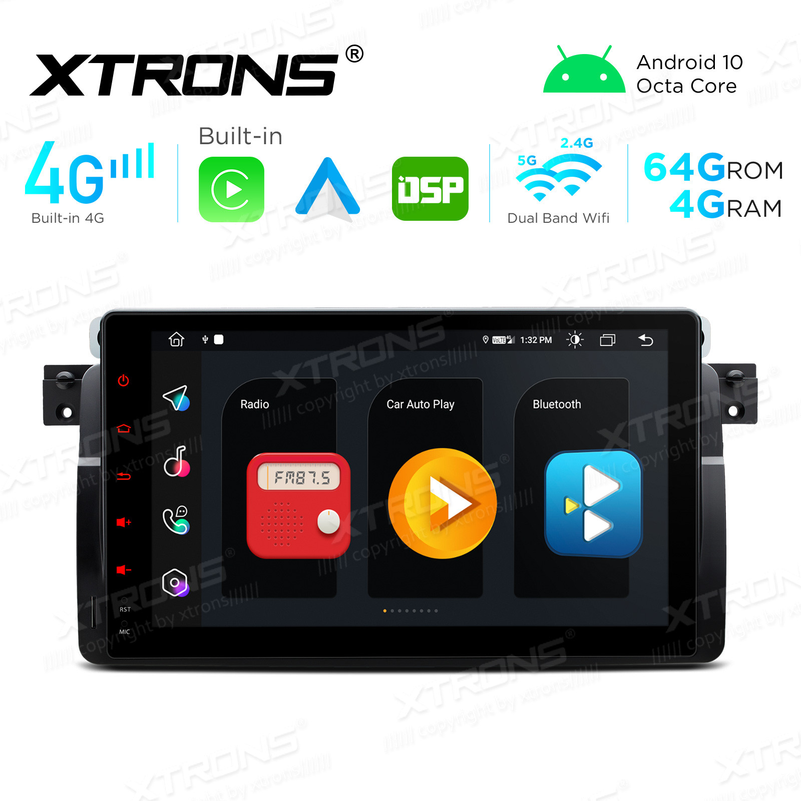 Integrated 4G Solution: 9 inch Android Multimedia Player Navigation System With Built-in CarAutoPlay and Android Auto and DSP For BMW