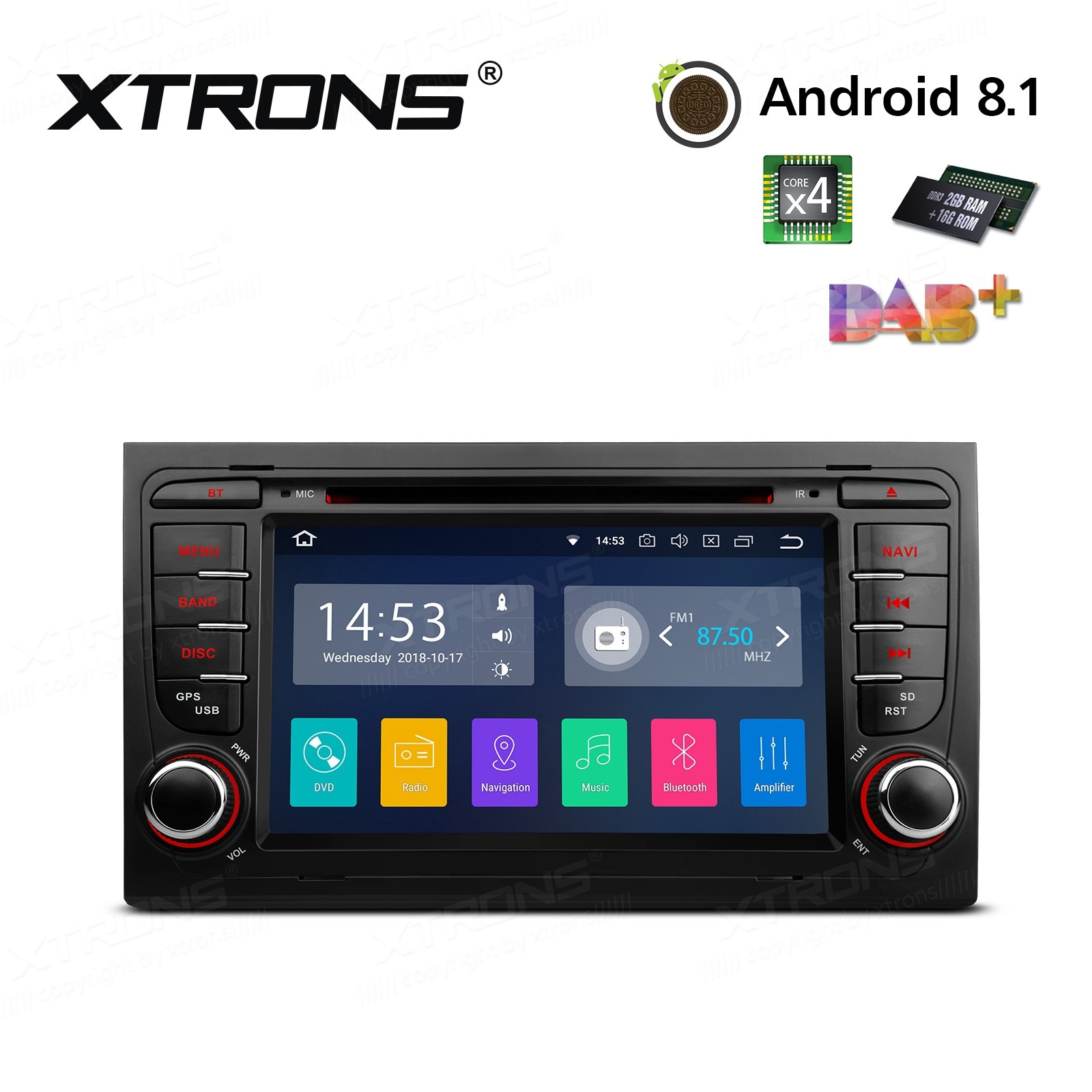 "7""Android 8.1 Quad Core 16GB ROM + 2G RAM car stereo multimedia navigation system with Full RCA Output Costom Fit for Audi"