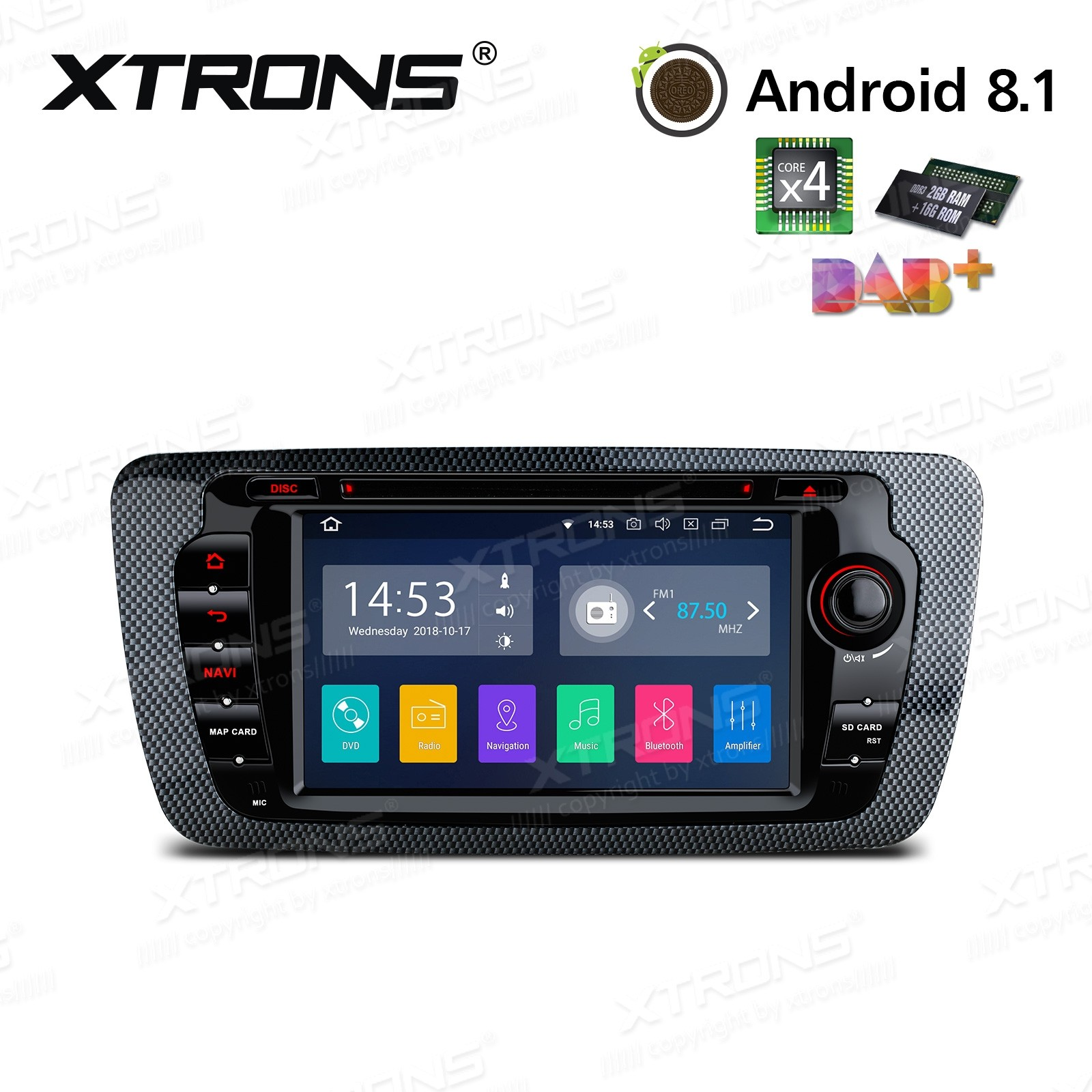 "7""Android 8.1 Quad Core 16GB ROM + 2G RAM car stereo multimedia navigation system with Full RCA Output Costom Fit for SEAT"