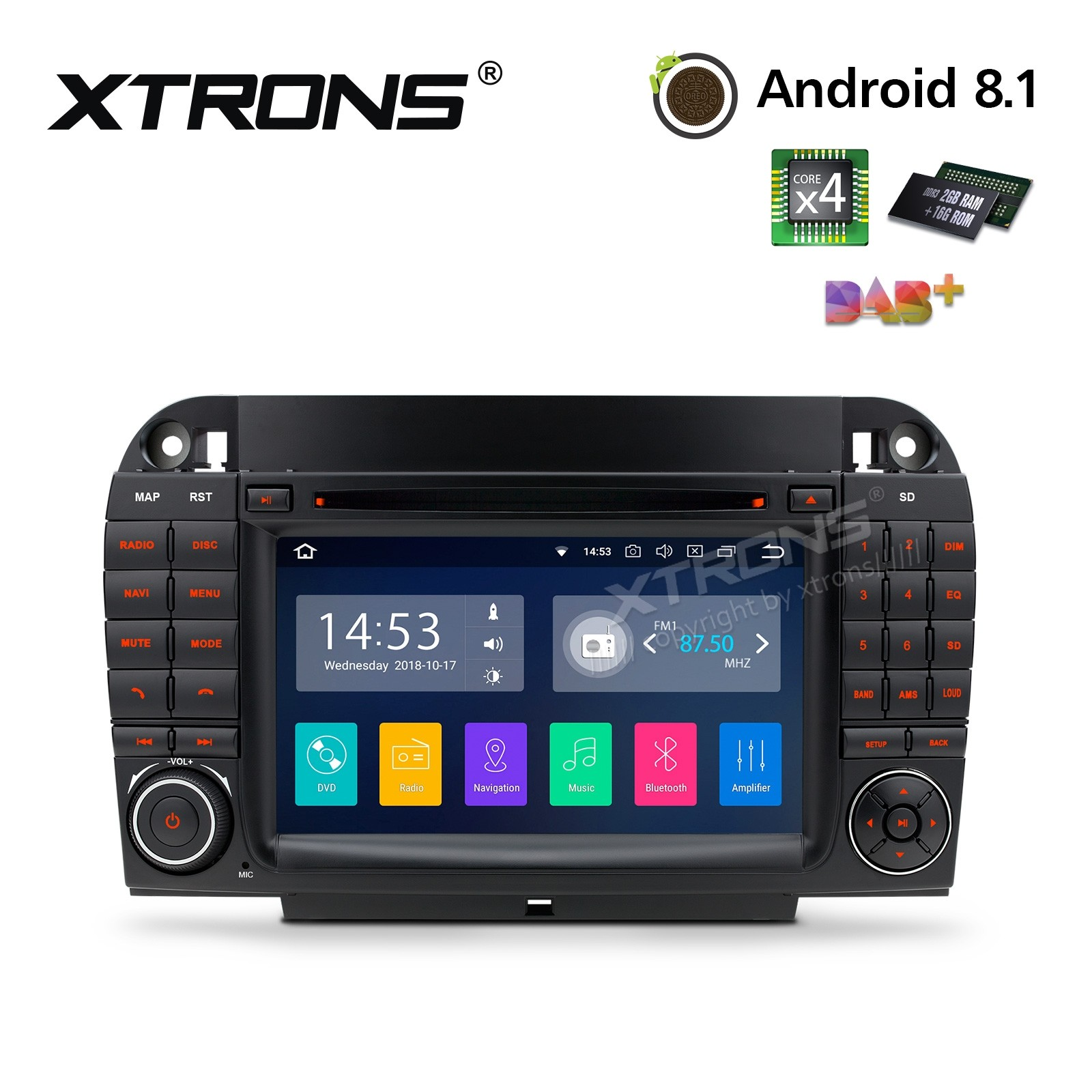 "7""Android 8.1 Quad Core 16GB ROM + 2G RAM car stereo multimedia navigation system with Full RCA Output Costom Fit for Mercedes-Benz"