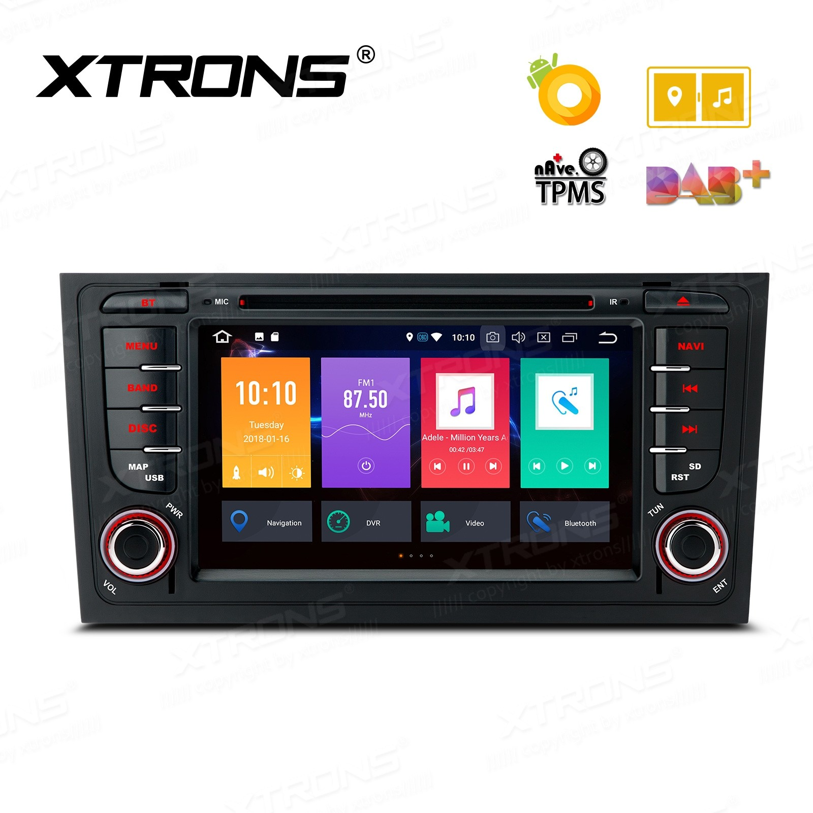 Android 8.0 Octa-Core 32GB ROM + 4G RAM Multimedia DVD Player with 7'' Display Custom fit for Audi A6 / S6 / RS6