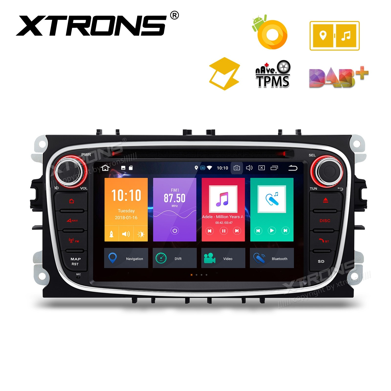 "7"" Android 8.0 Octa-Core 32GB ROM + 4G RAM Multimedia DVD Player support car auto play Custom fit for FORD"