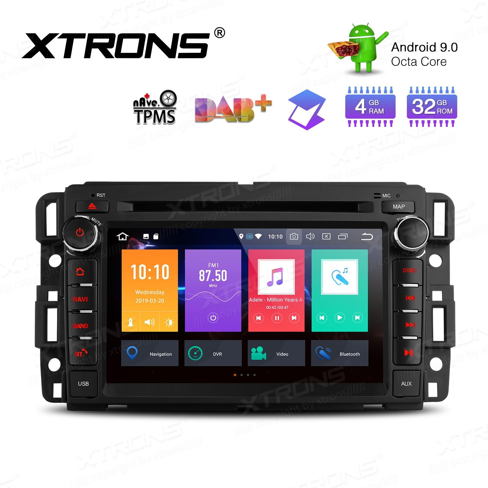 "7"" Android 9.0 Octa-Core 32GB ROM + 4G RAM Car Multimedia DVD Player with GPS support car auto play Custom fit for Chevrolet / Buick / GMC / HUMMER"