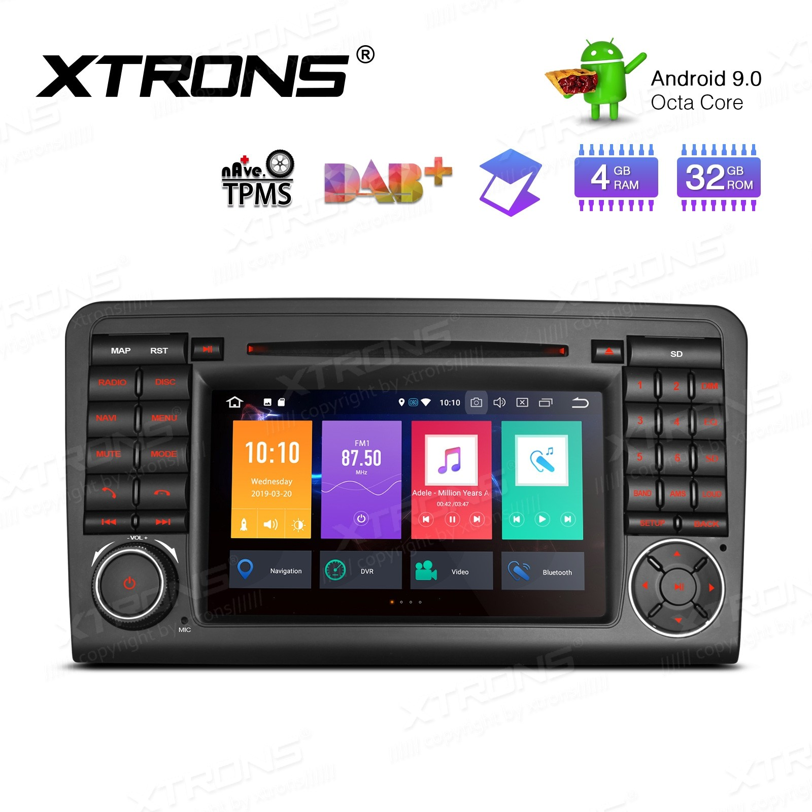 """7"""" Android 9.0 Octa-Core 32GB ROM + 4G RAM Car Multimedia DVD Player with GPS support car auto play Custom fit for Mercedes-Bens"""