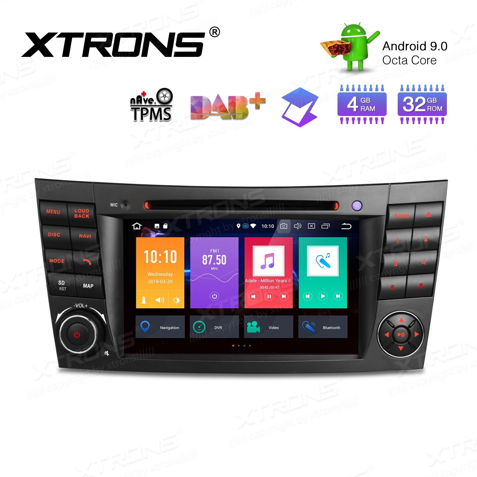 """7"""" Android 9.0 Octa-Core 32GB ROM + 4G RAM Car Multimedia DVD Player with GPS Custom fit for Mercedes-Bens"""