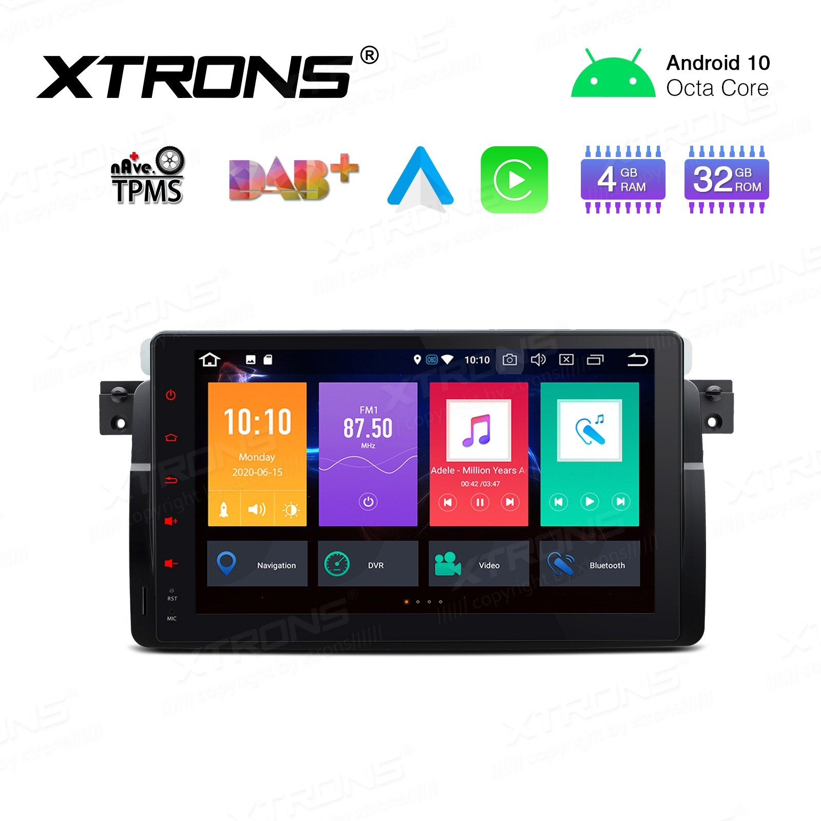 "9"" Android 10.0 Octa-Core 32GB ROM + 4G RAM Car Stereo Multimedia Navigation System Support CarAutoPlay Custom fit for BMW/Rover/MG"