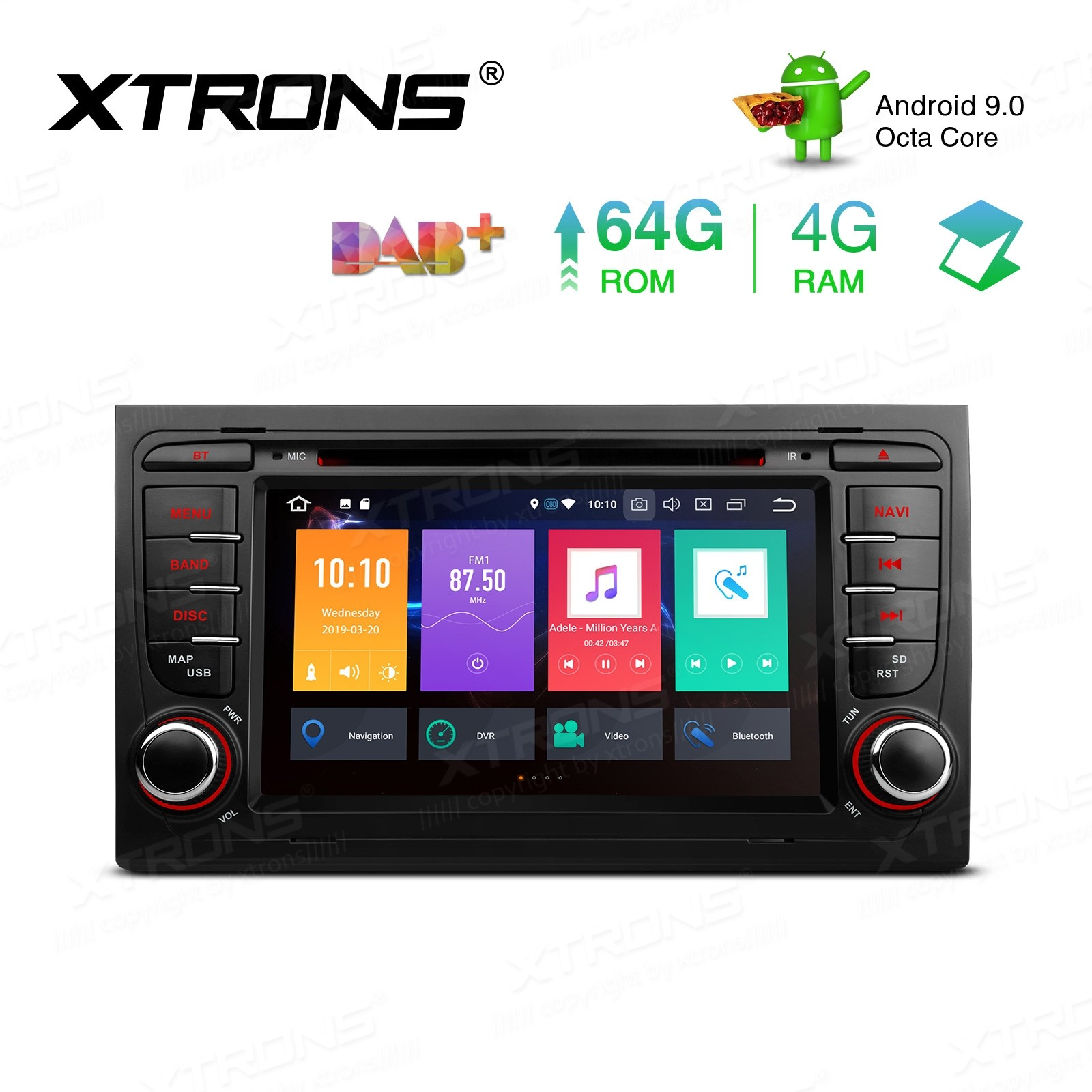 7 inch Android 9.0 Octa-Core 64G ROM + 4G RAM Support CarAutoPlay Car DVD Player Multimedia GPS System Custom fit for Audi