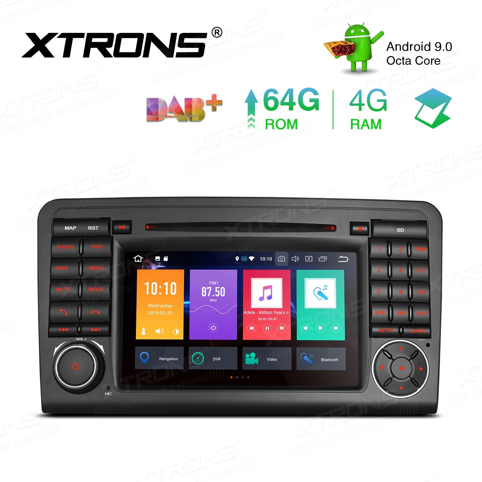 "7"" Android 9.0 Octa-Core 64GB ROM + 4G RAM DVD Player Car Multimedia GPS System support car auto play Custom fit for Mercedes-Bens"