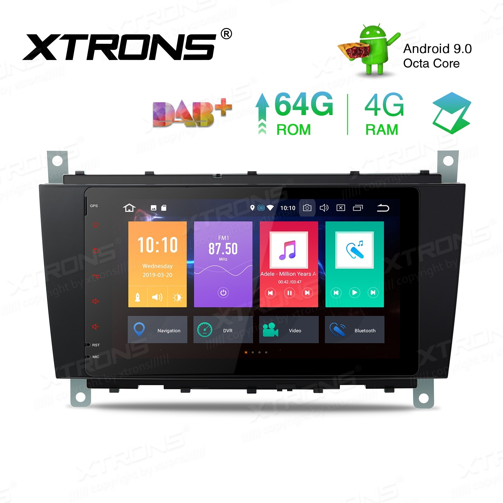8 inch Android 9.0 Octa-Core 64G ROM + 4G RAM Car Stereo Multimedia GPS System Custom Fit for Mercedes-Benz