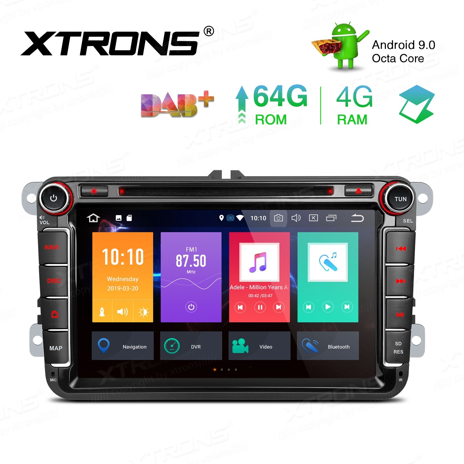8 inch Android 9.0 Octa-Core 64G ROM+4G RAM Car DVD Player Multimedia GPS System Support CarAutoPlay Custom Fit for VW / Seat / Skoda