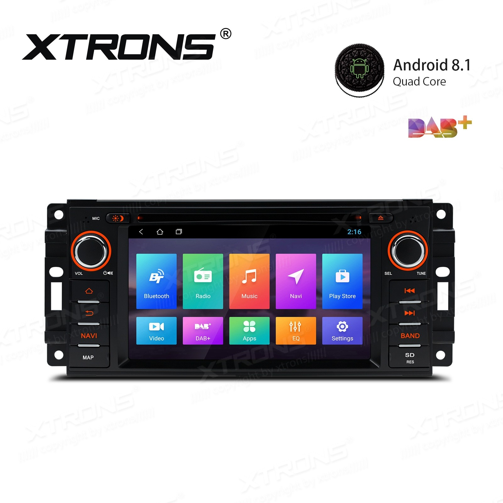 "6.2"" Android 8.1 with Full RCA Output In-Dash GPS Navigation Multimedia System Custom Fit for Jeep 