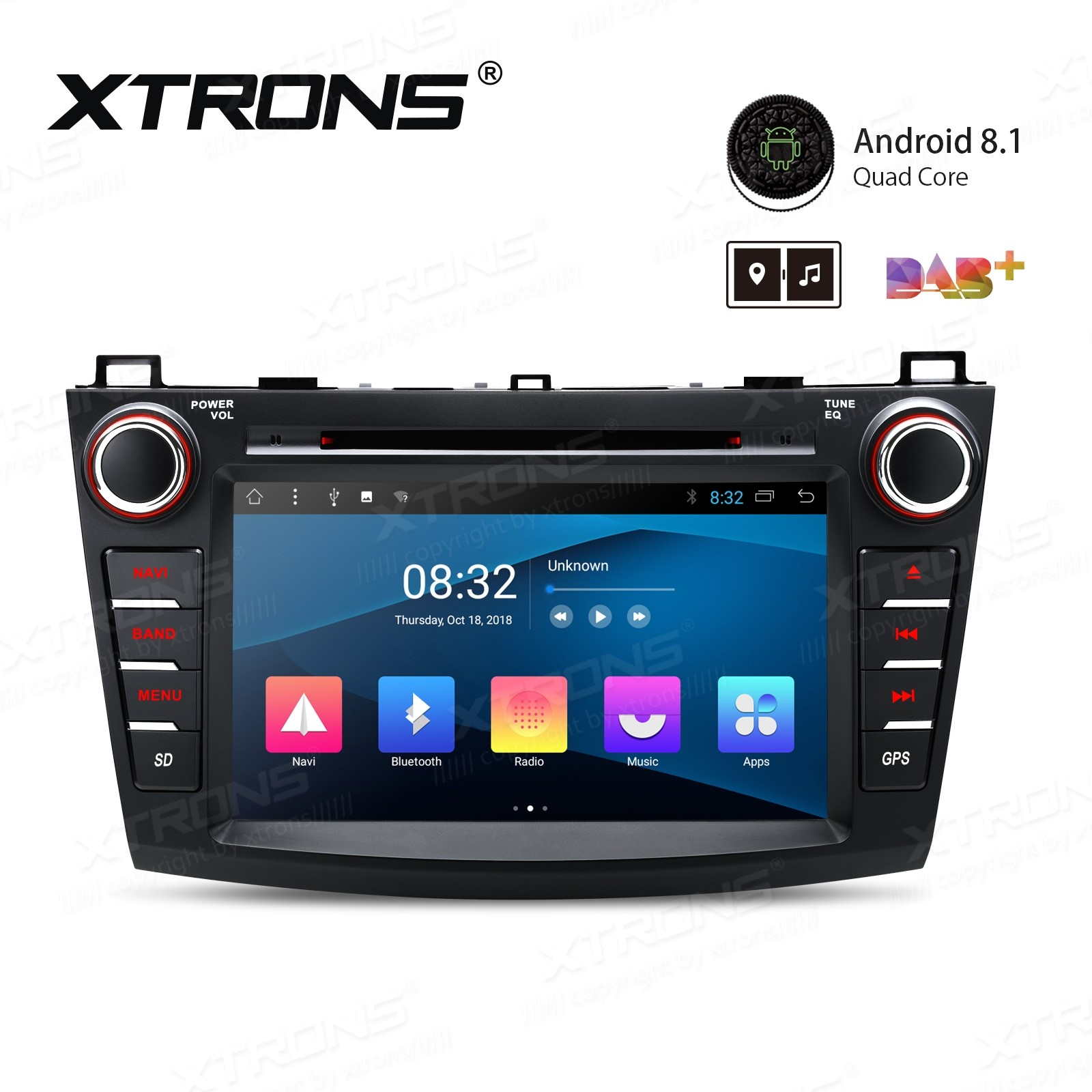 "8"" Android 8.1 with Full RCA Output In-Dash GPS Navigation Multimedia System Custom Fit for Mazda 3"