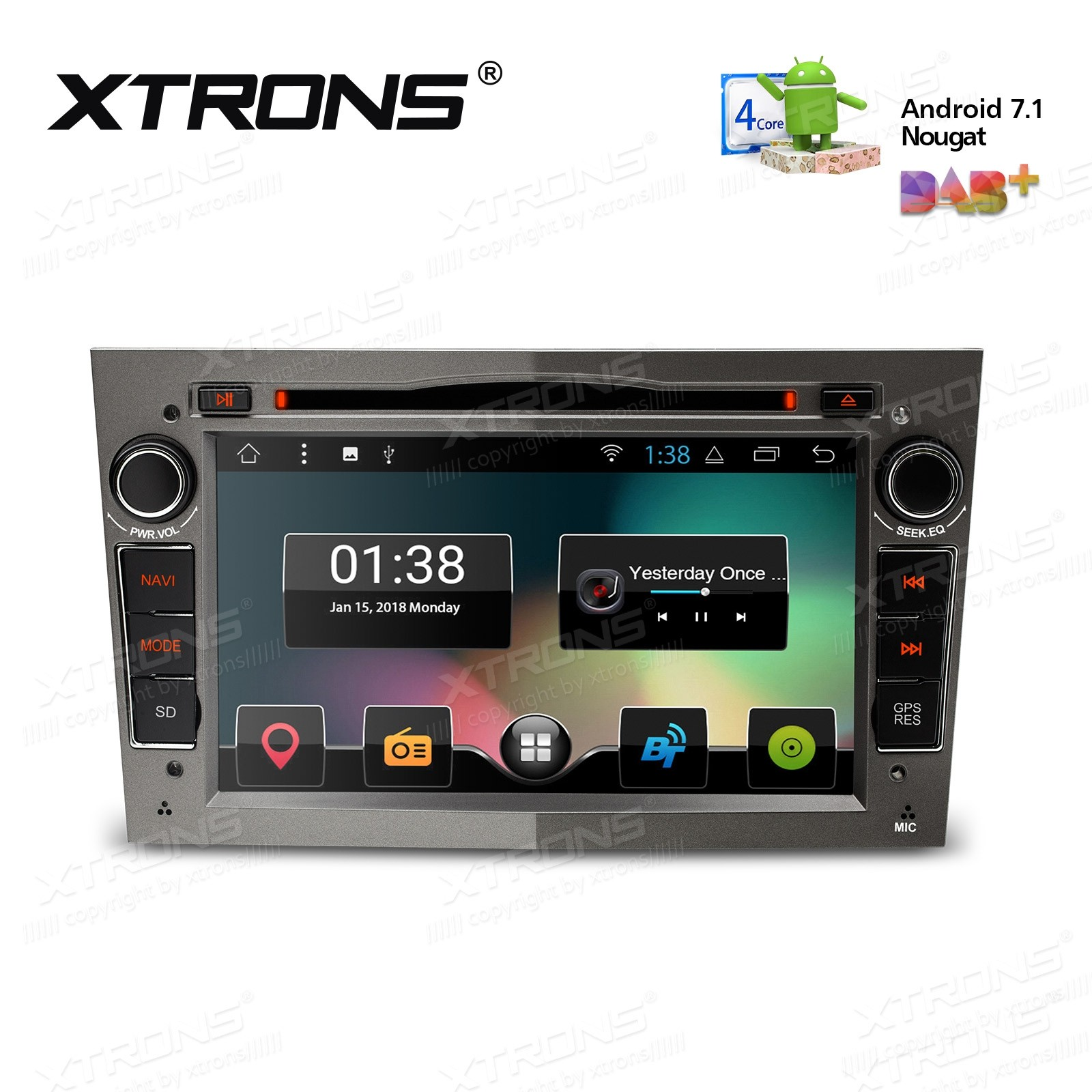 """7"""" Android 7.1 Nougat Quad core 16GB ROM HD Digital Multi Touch Screen Car DVD Player Custom Fit for OPEL"""