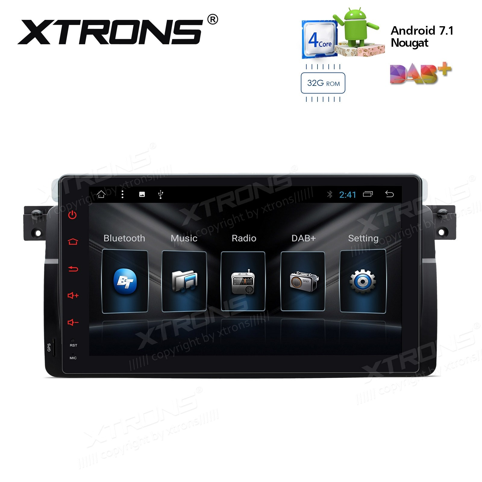 "9"" Android 7.1 Nougat Quad core 32GB ROM + 2GB DDR3 RAM Multimedia HD Digital Touch Screen Car Stereo Custom Fit for BMW / Rover / MG"