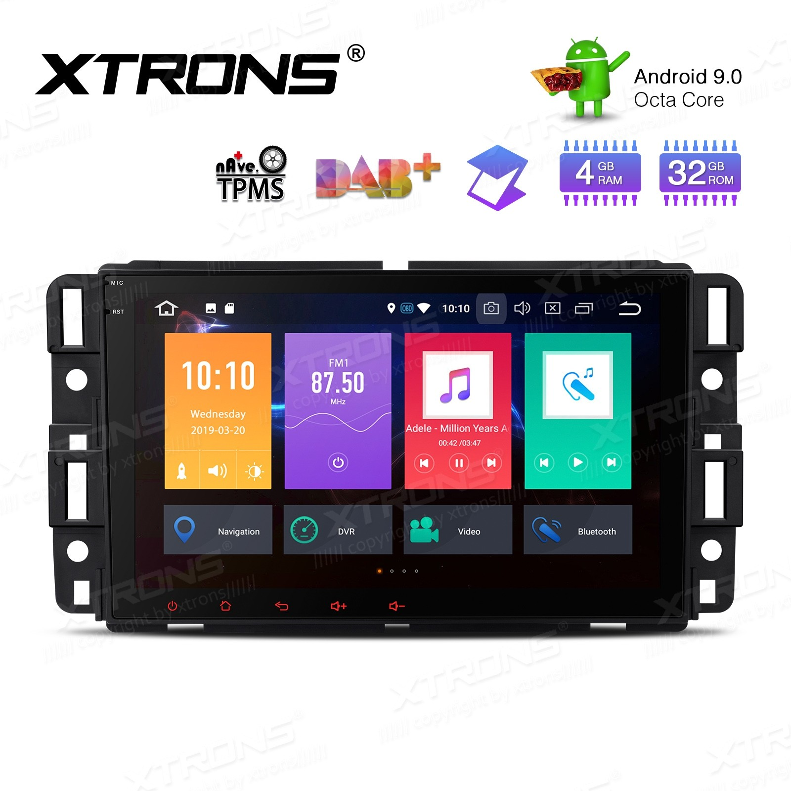 "8"" Android 9.0 Octa-Core 32GB ROM + 4G RAM Car Multimedia Stereo with GPS support car auto play Custom fit for Chevrolet / Buick / GMC / HUMMER"