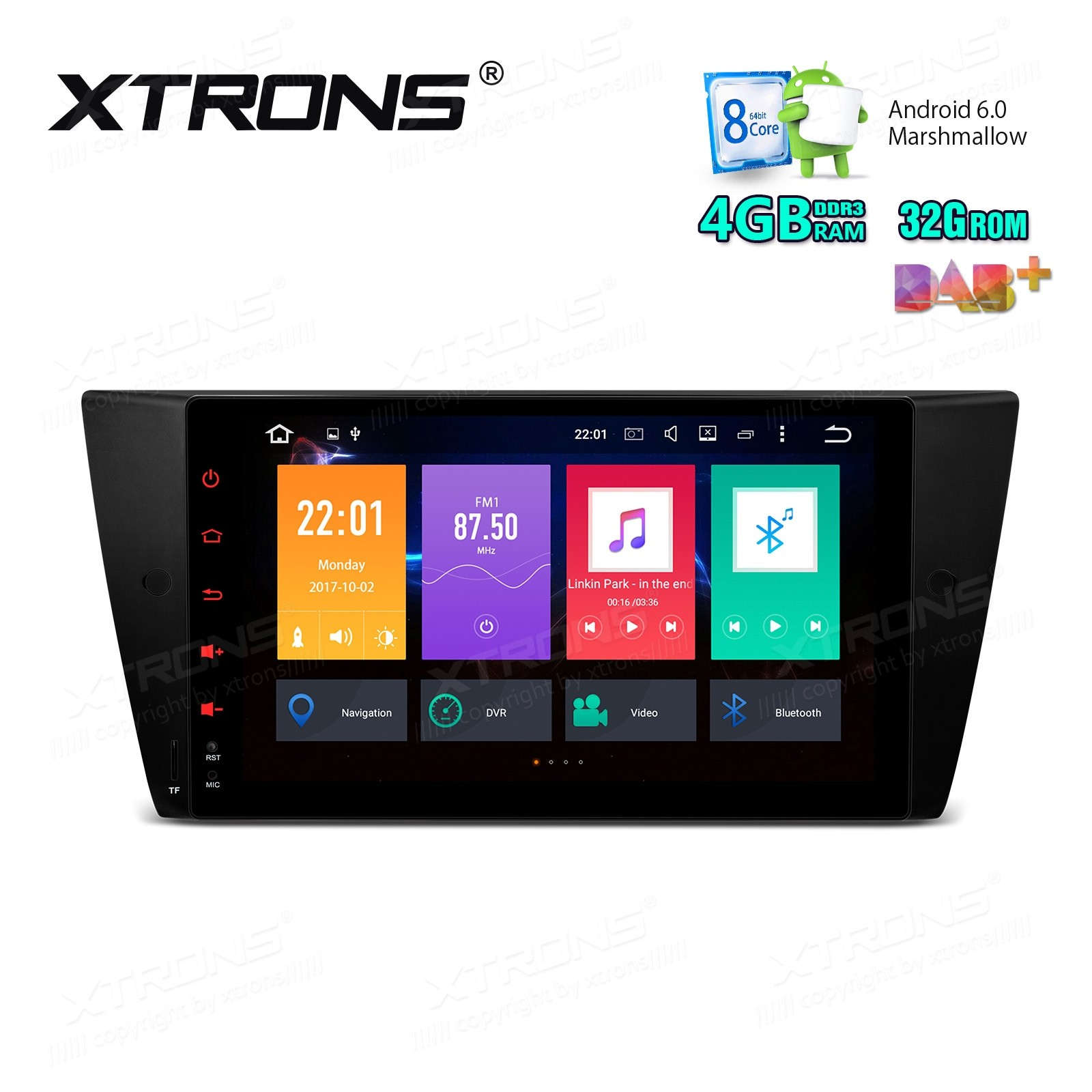 "9"" HD Digital Octa-Core Android 6.0 DDR3 4GB RAM + 32GB ROM Multi Touch Screen Car Stereo Custom Fit for BMW"