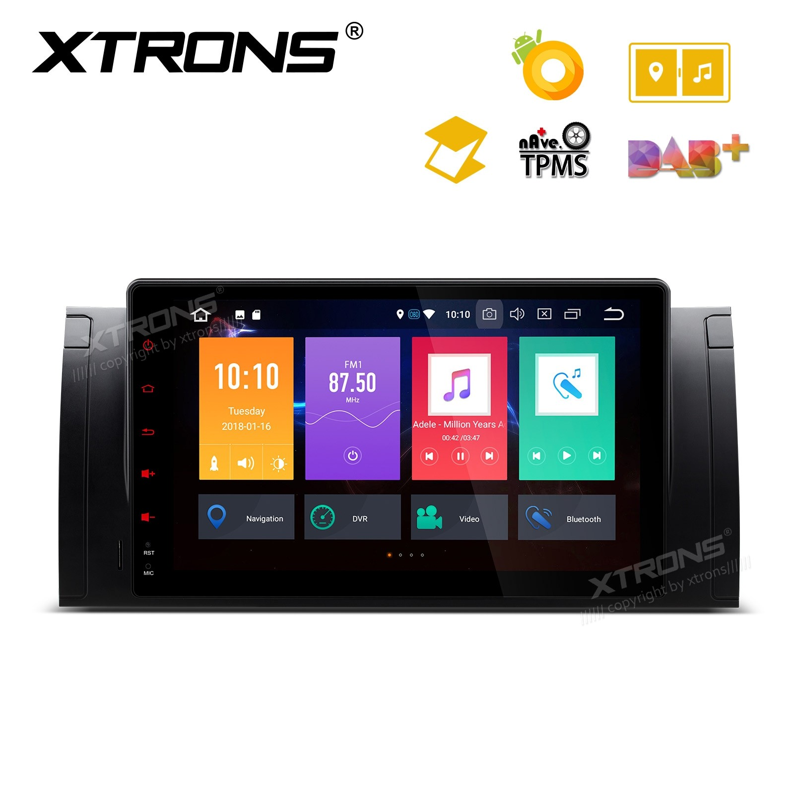 """Android 8.0 Octa-Core 32GB ROM + 4G RAM Multimedia Player with 9"""" Display support car auto play Custom Fit for BMW E53/X5/E39"""