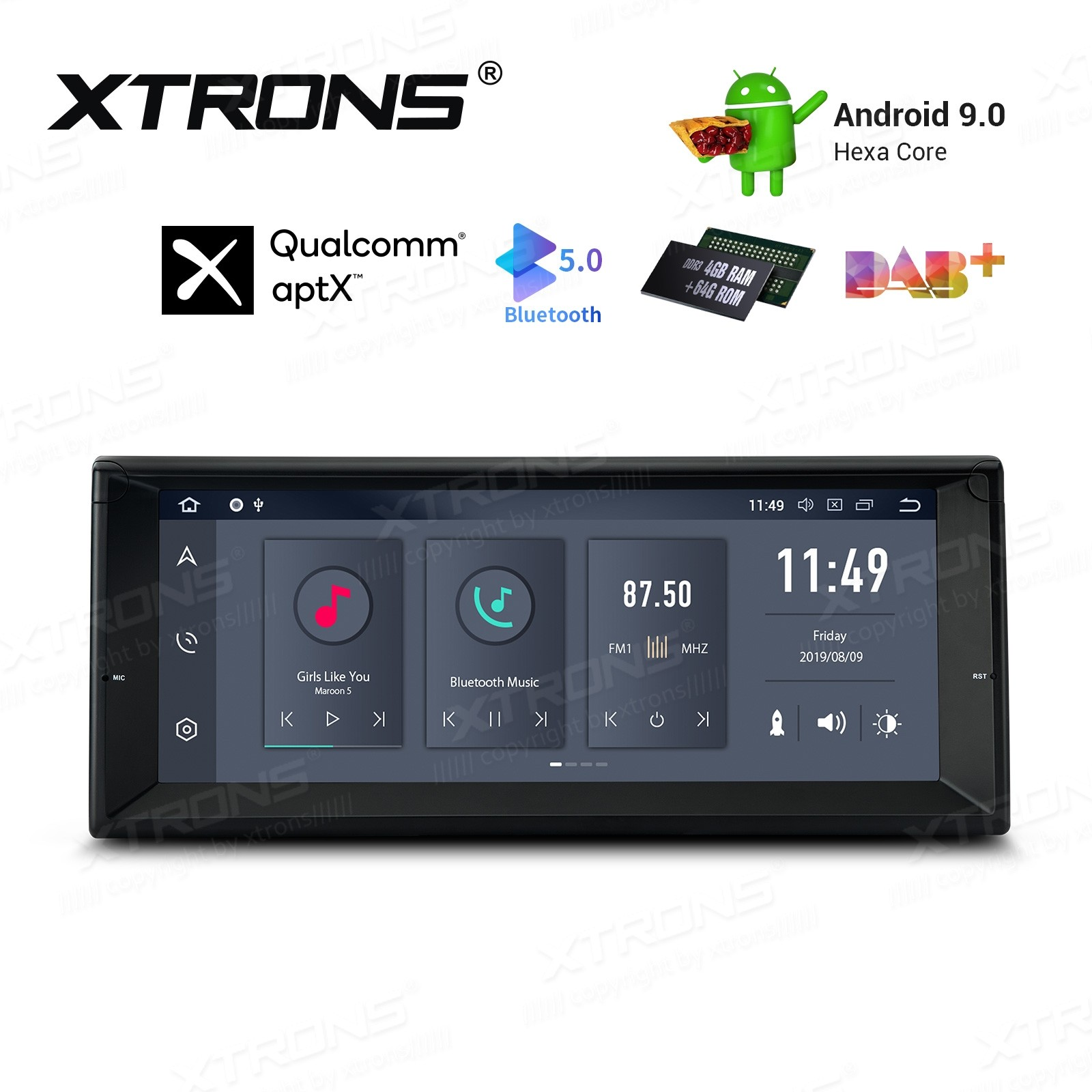 10.25 inch Android 9.0 Hexa Core 64GB ROM + 4GB RAM Car DVD Receiver Navigation System with HDMI Output Custom Fit for BMW
