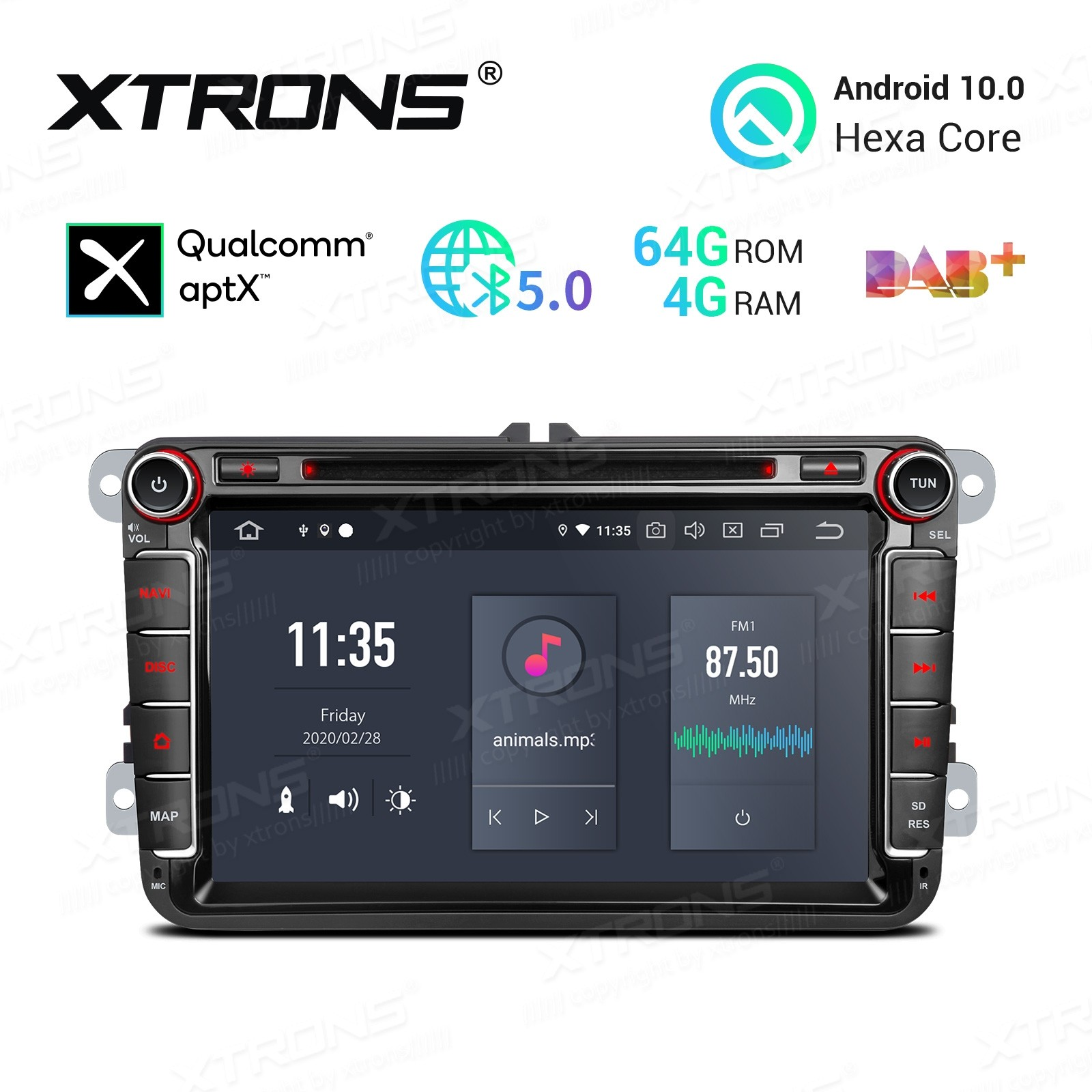 8 inch Android 10.0 Hexa Core 64GB ROM + 4GB RAM Car DVD Receiver Navigation System with HDMI Output Custom Fit for VW/Skoda/Seat