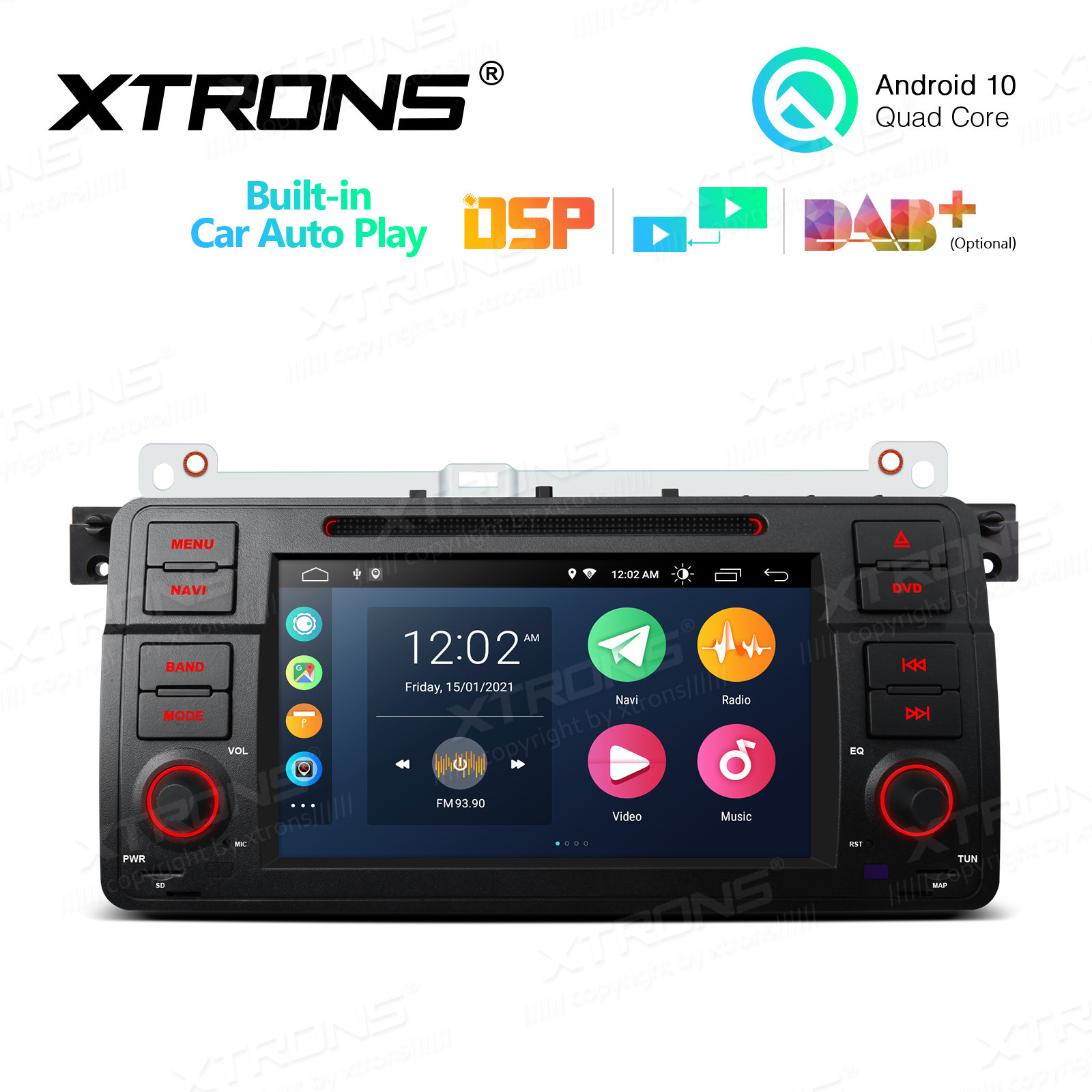 7 inch Multimedia Car DVD Player Navigation System With Built-in Wired CarAutoPlay and DSP With Instant Rear Vision Fit for BMW E46