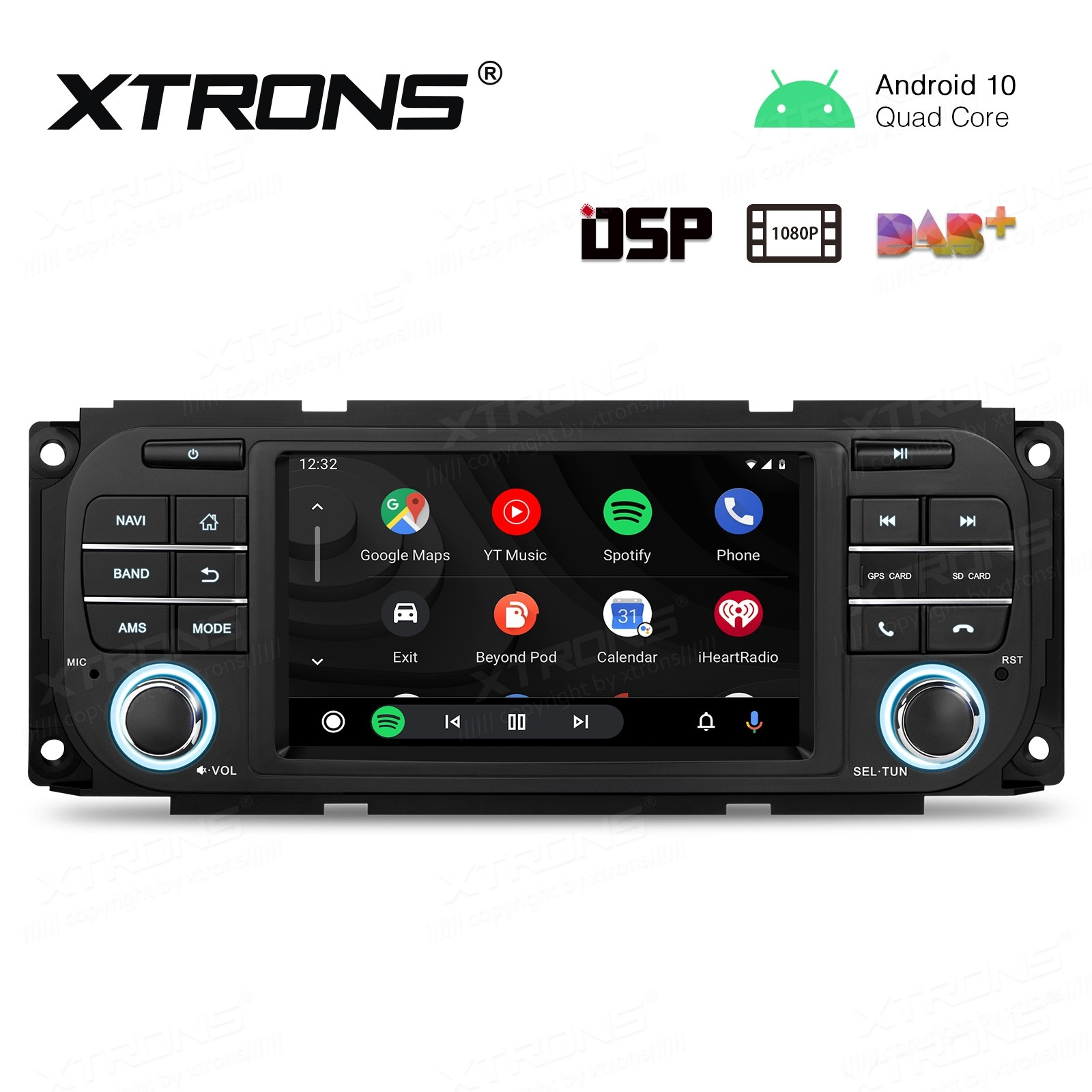 5 inch HD Screen Multifunctional Android Car Stereo with Full RCA Output&Built-in DSP Custom Fit for Chrysler | Jeep | Dodge