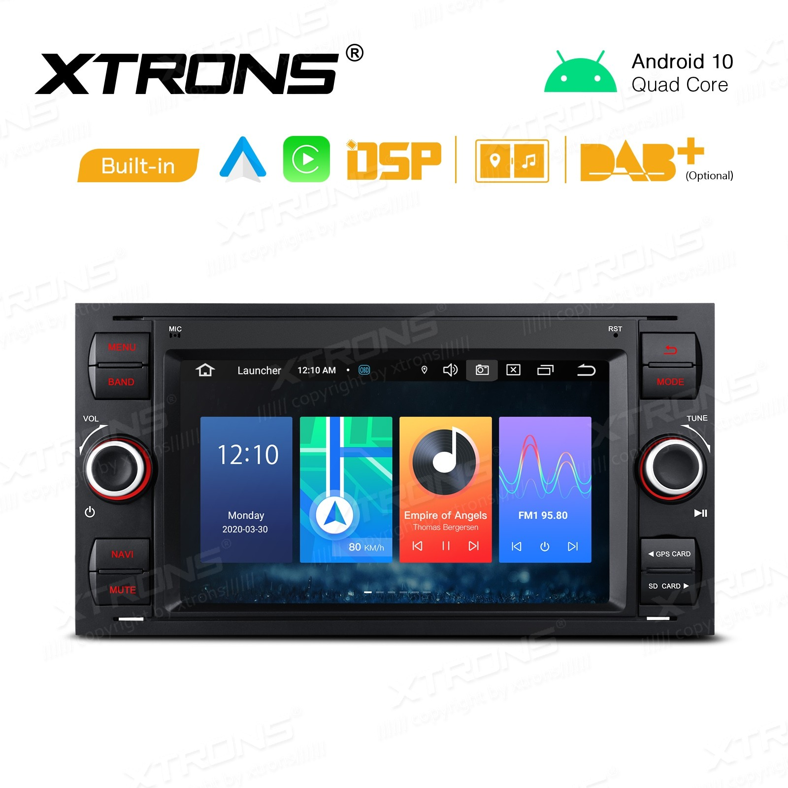 7 inch Android 10 GPS Multimedia Player with Built-in DSP Built-in CarAutoPlay & Android Auto Custom Fit for Ford