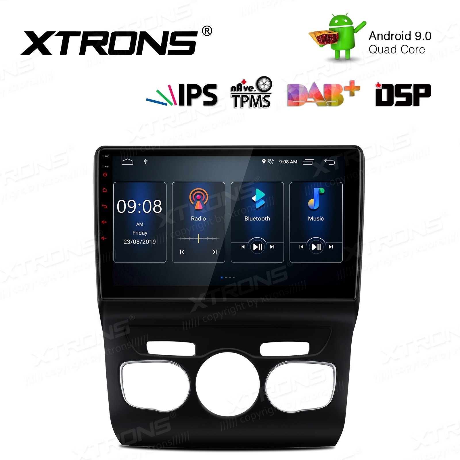 10.1 inch IPS Screen Android 9.0 Navigation Multimedia Player with Built-in DSP Custom Fit for Citroen