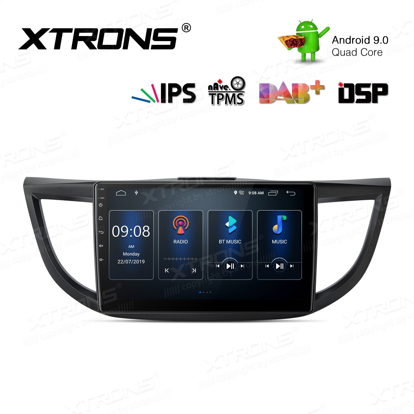 10.1 inch Android 9.0 IPS Screen with Built-in DSP Navigation Multimedia Player Fit for Honda
