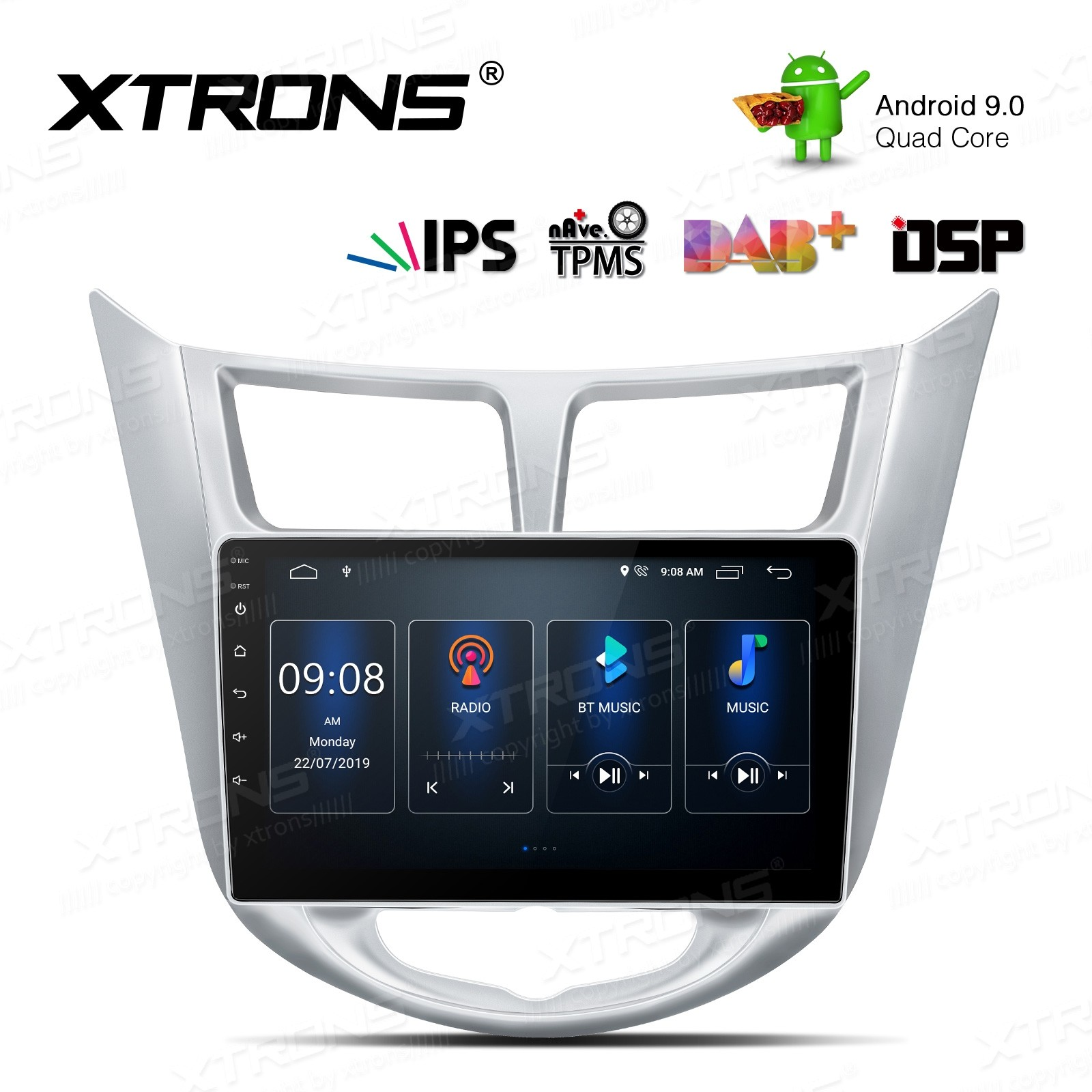 9 inch IPS Screen Android 9.0 Navigation Multimedia Player with Built-in DSP Custom Fit for HYUNDAI