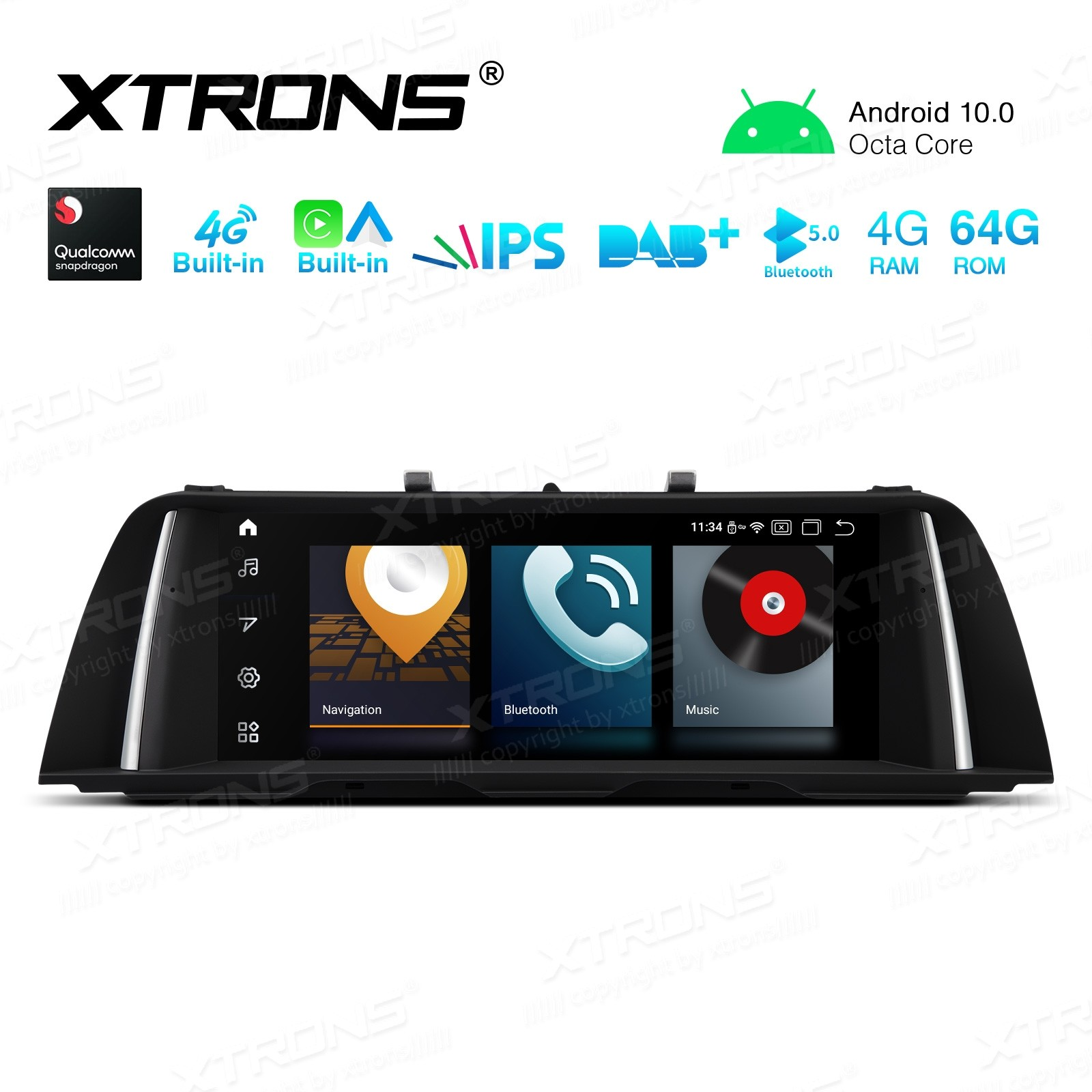 10.25 inch Car Android Multimedia Navigation System with Built-in 4G and CarAutoPlay and Android Auto for BMW 5 Series F10/F11 NBT