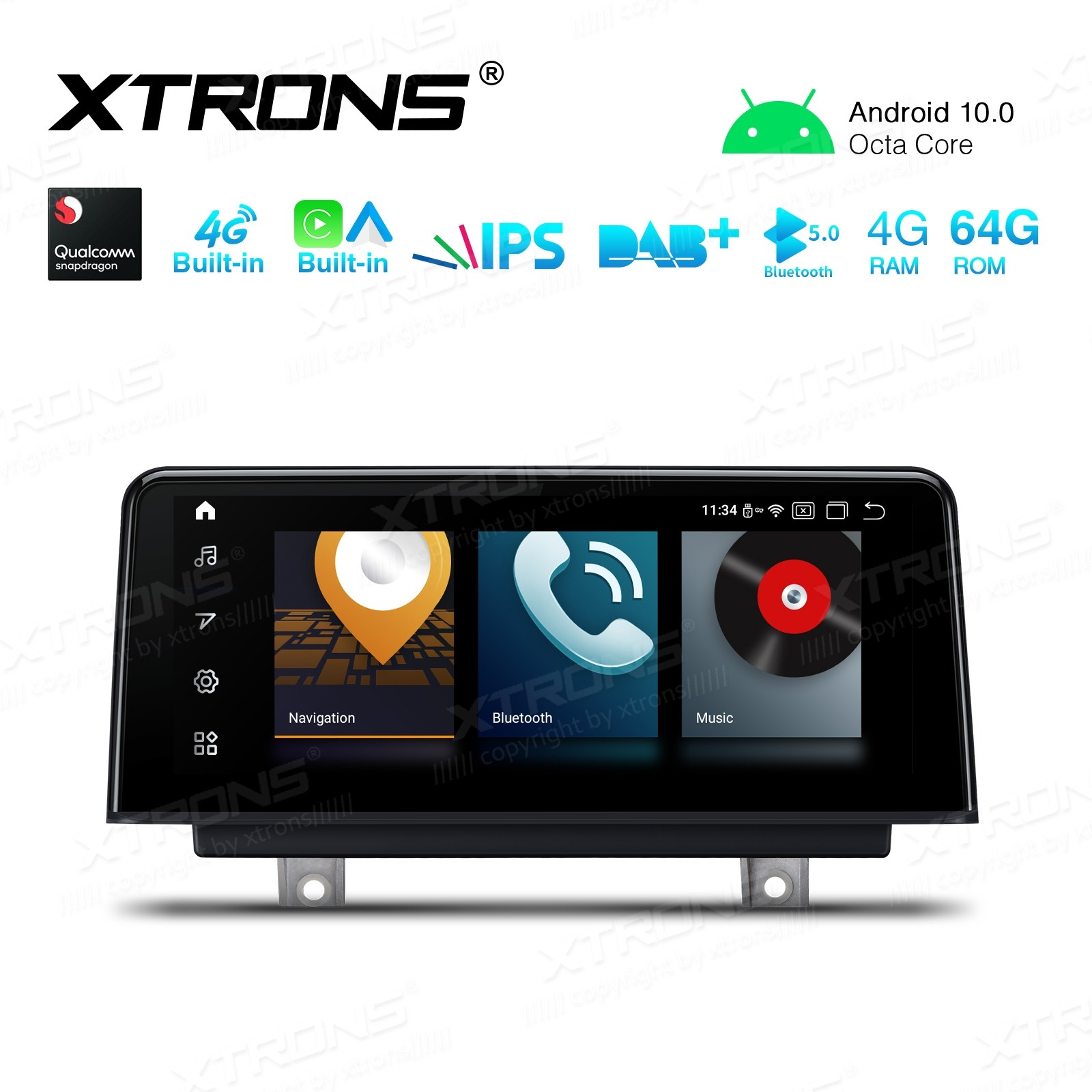 10.25 inch Car Android Multimedia Navigation System with Built-in CarAutoPlay and Android Auto and 4G for BMW 1&2 Series F20/F21/F23 Left Driving Vehicles NBT