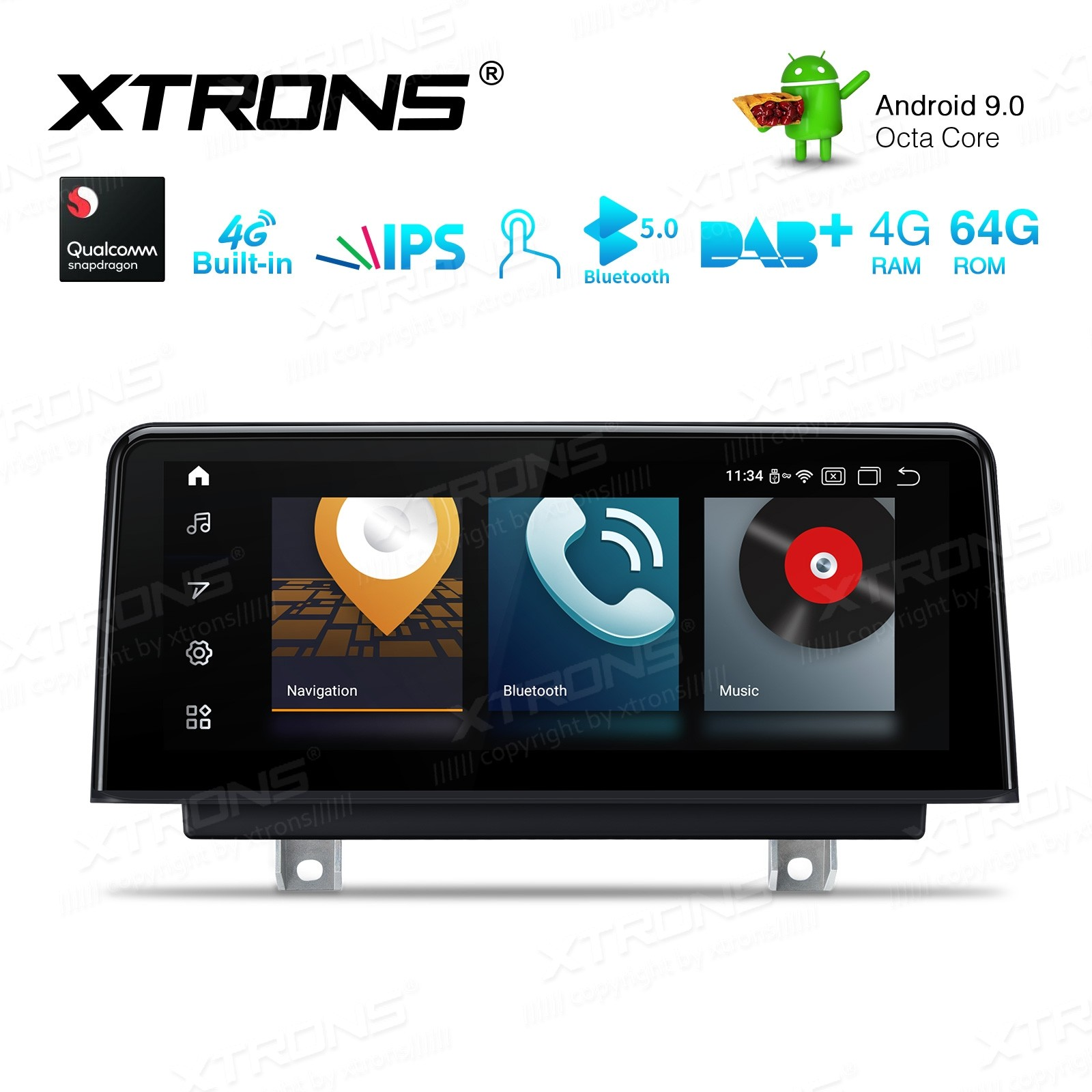10.25-inch Car Android Multimedia Navigation System with Built-in 4G for BMW 3 Series F30/F31/F34 & 4 Series F32/F33/F36 NBT