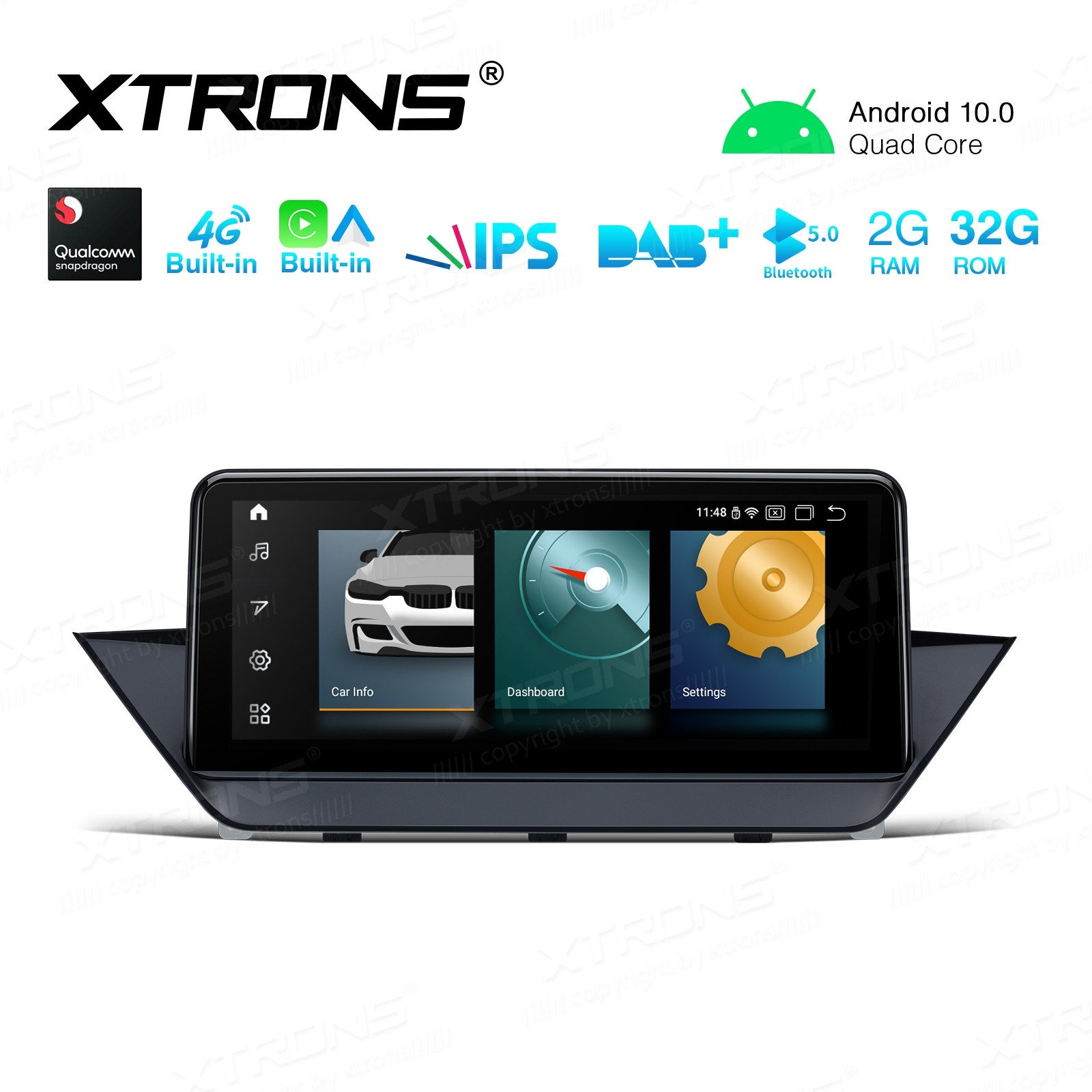 10.25 inch Android Navigation System with Built-in 4G Support Carriers in Asia and Europe with Built-in CarAutoPlay and Android Auto for BMW X1 E84 with NO Original Display