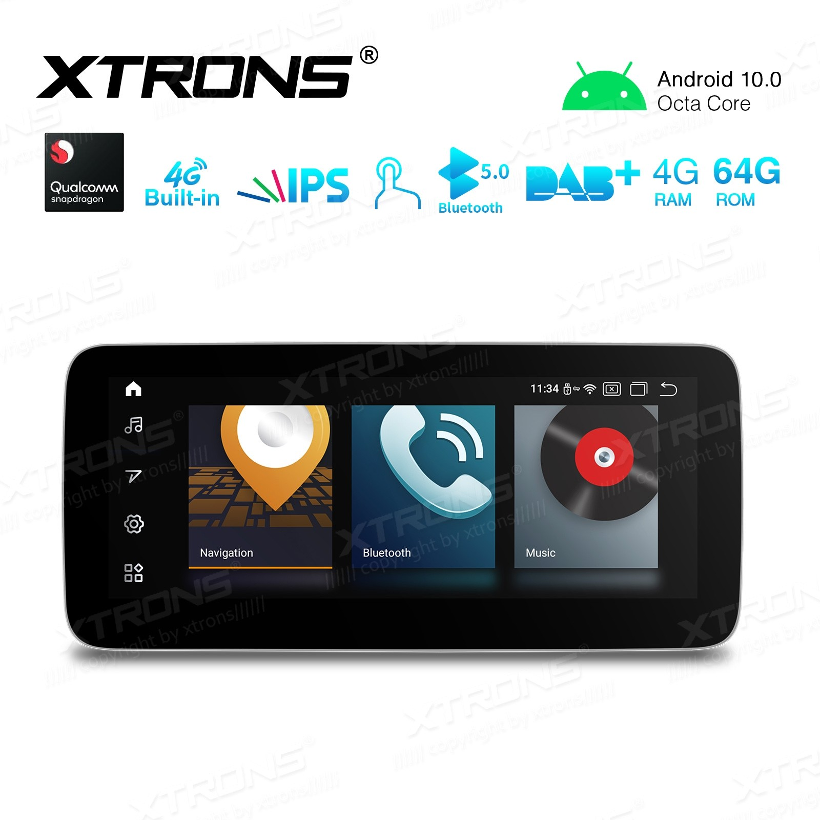 10.25 inch Qualcomm Octa Core 4GB+64GB Car Android Multimedia Navigation System with Built-in 4G Support Carriers in Asia and Europe for Mercedes-Benz A-Class W176/ CLA-Class C117/ GLA-Class X156