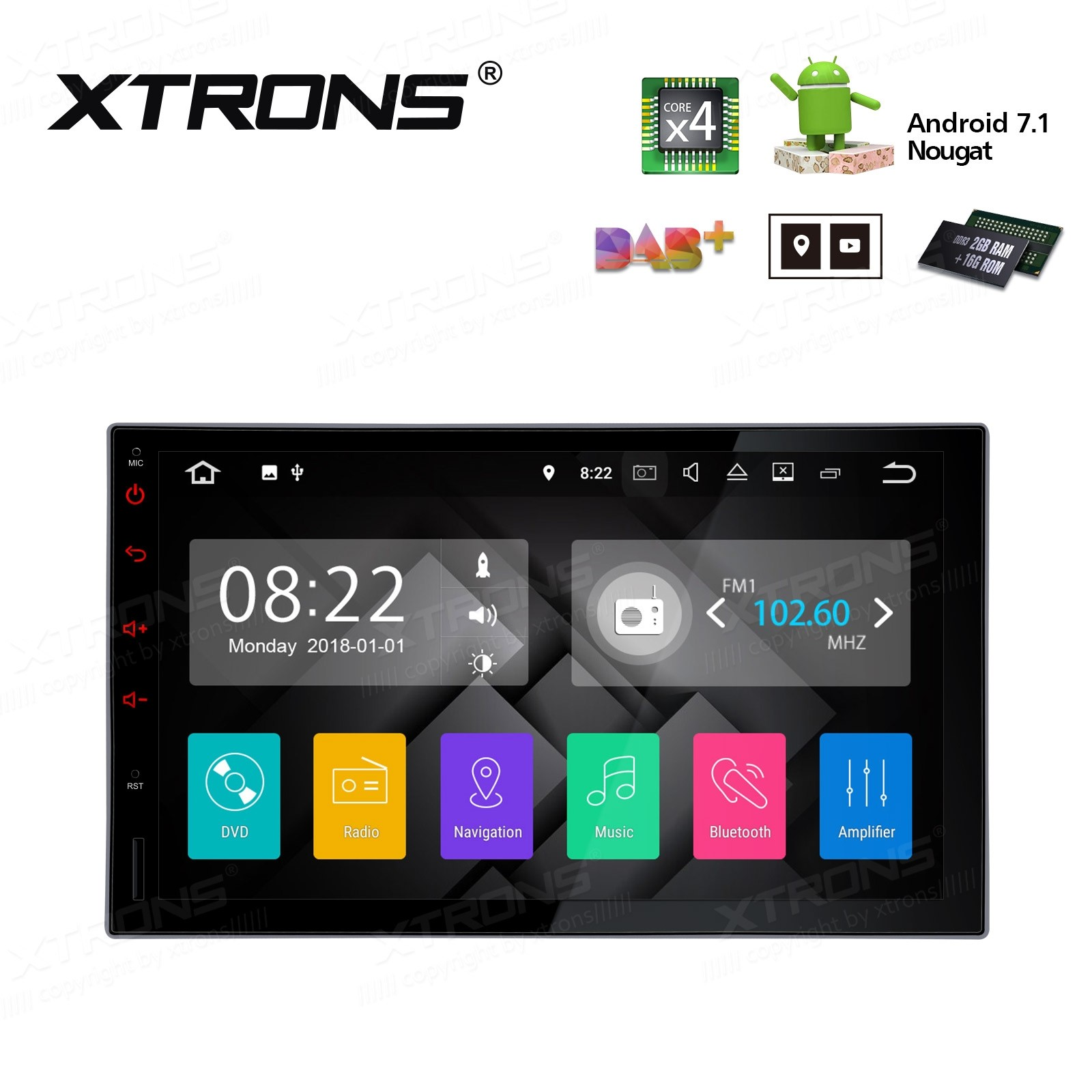 """7"""" HD Digital Muiti Touch Screen Android 7.1 Quad Core 16GB ROM + 2G DDR3 RAM Car Android Stereo"""