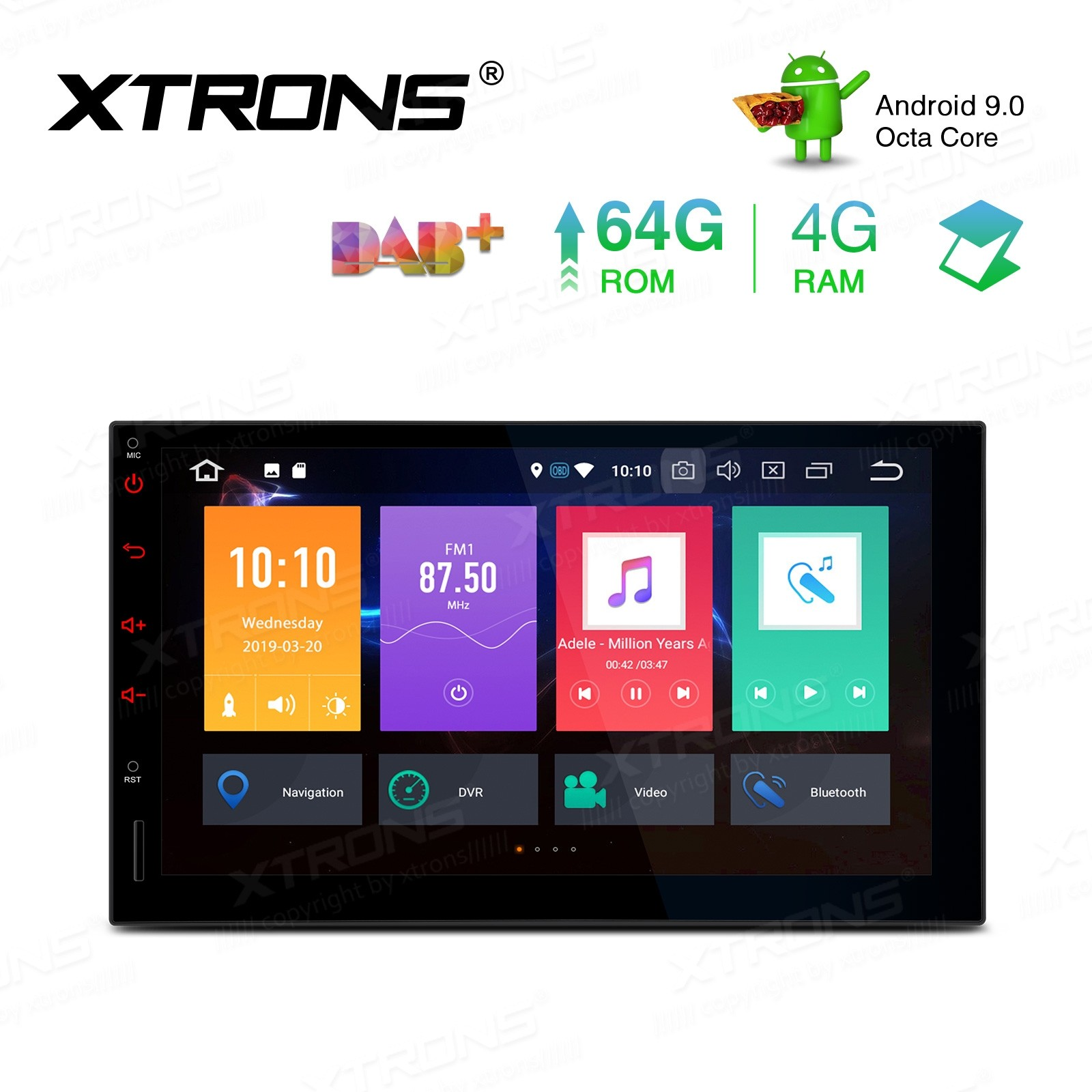 7 inch Android 9.0  Octa-Core 64GB ROM + 4G RAM Car Stereo Multimedia GPS System Support CarAutoPlay
